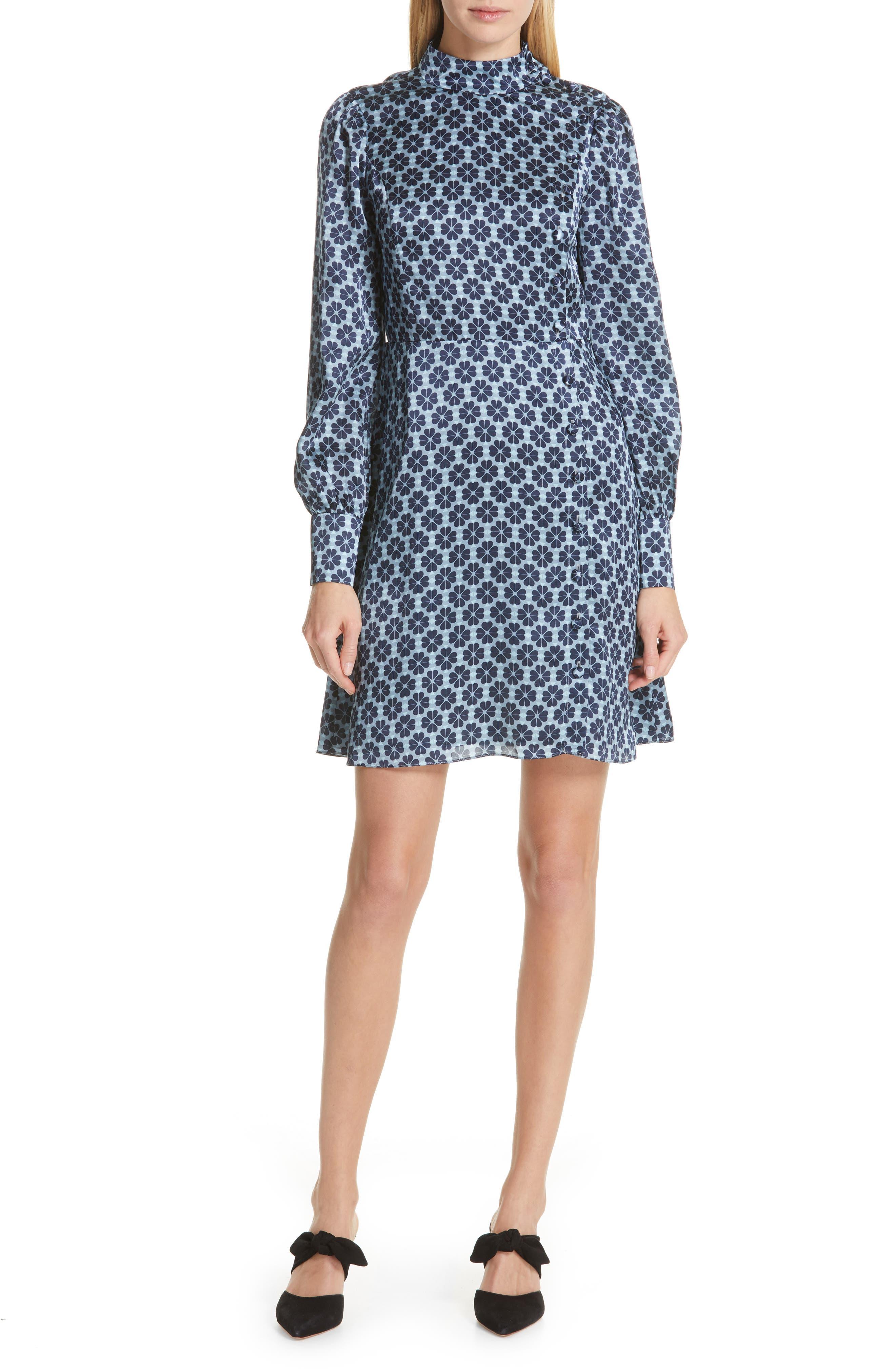 Kate Spade New York Floral Spade Silk Fit & Flare Dress