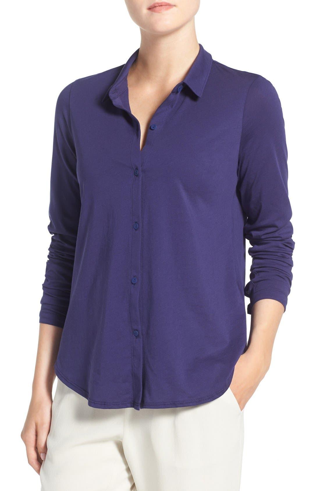 Organic Cotton Jersey Classic Collar Shirt,                             Main thumbnail 4, color,