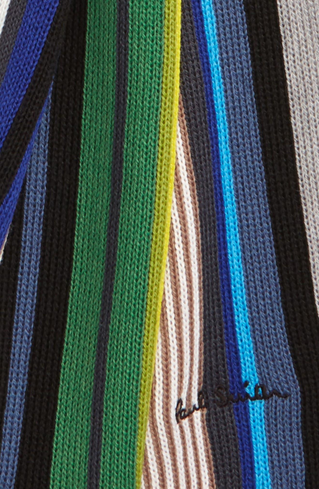 Grande Stripe Wool Scarf,                             Alternate thumbnail 3, color,                             028