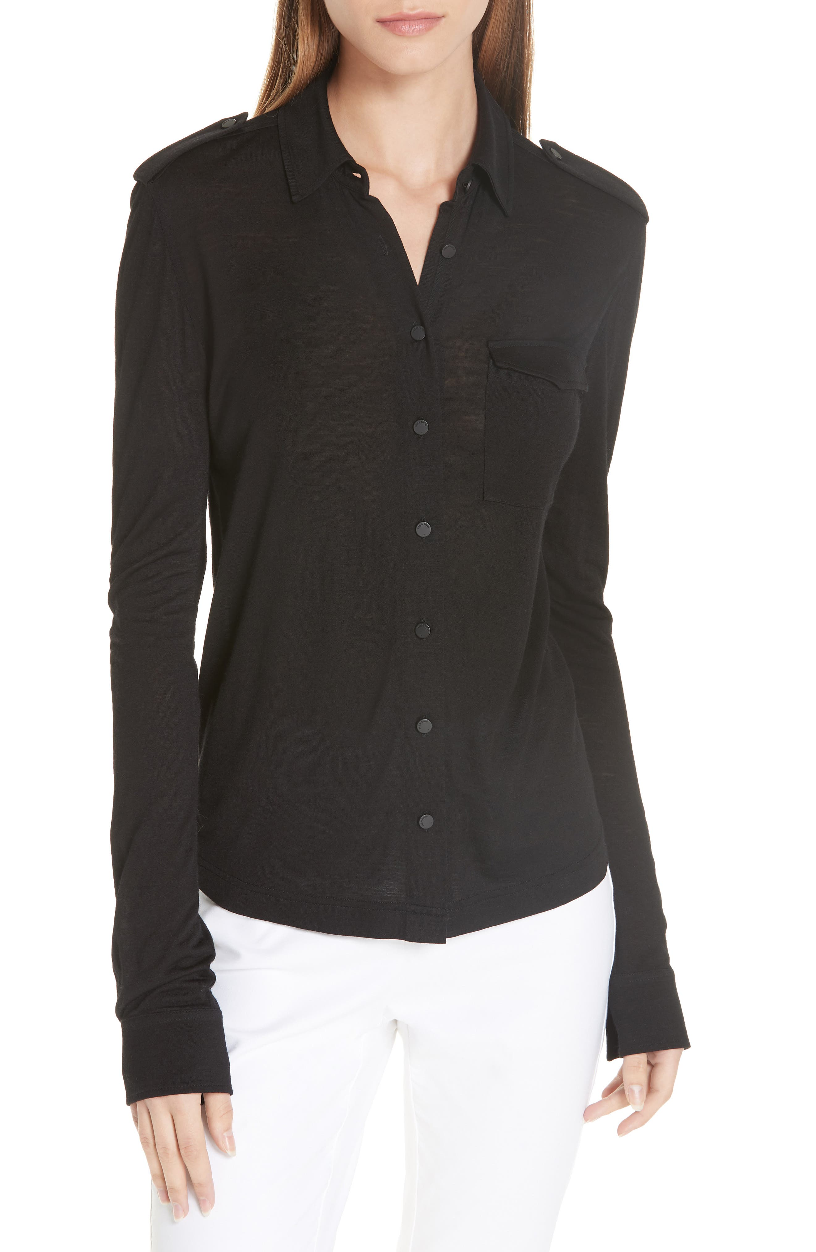 Leyton Button-Front Military Shirt in Black
