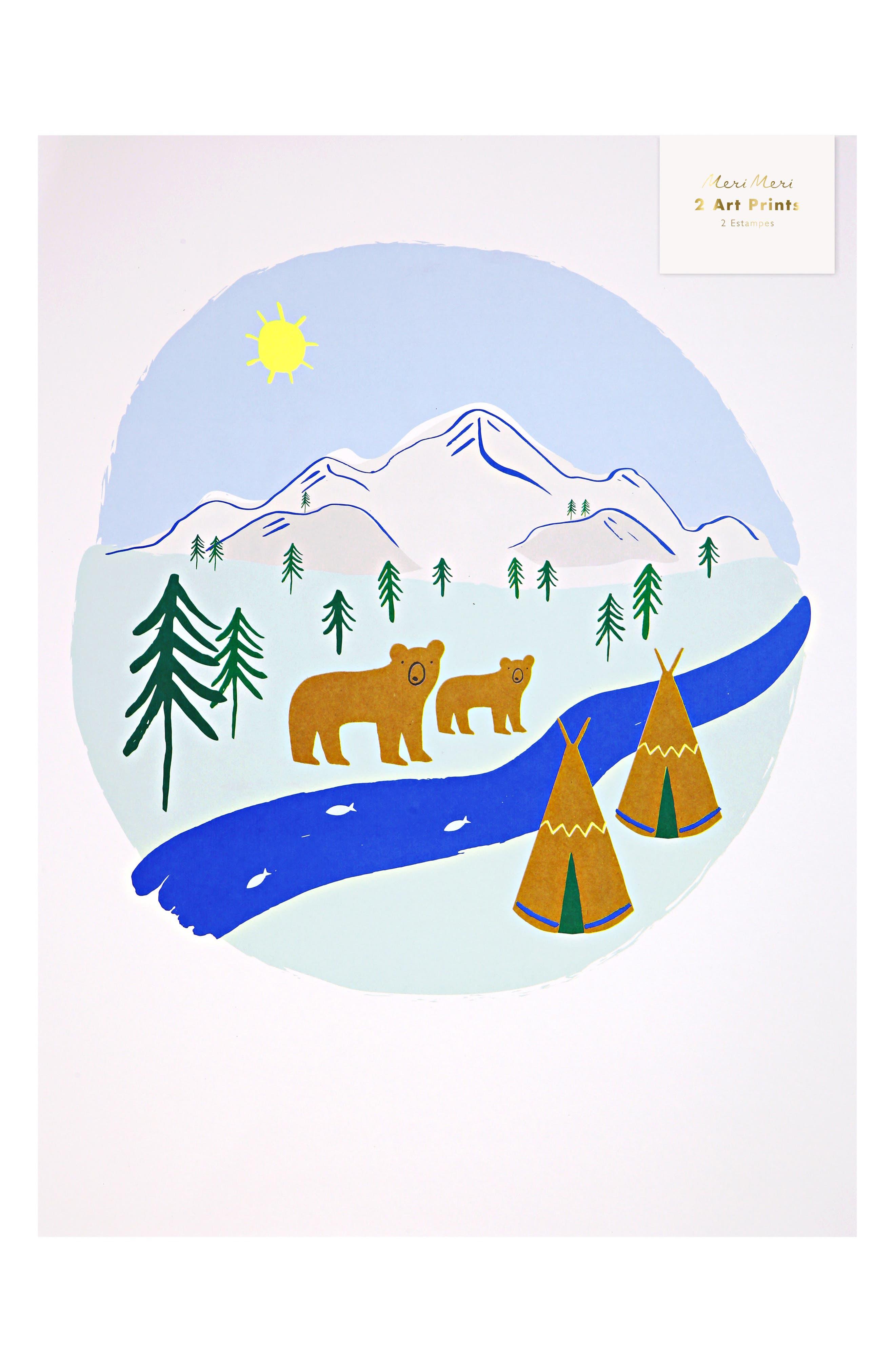 Let's Explore 2-Piece Art Print Set,                             Main thumbnail 1, color,                             BROWN
