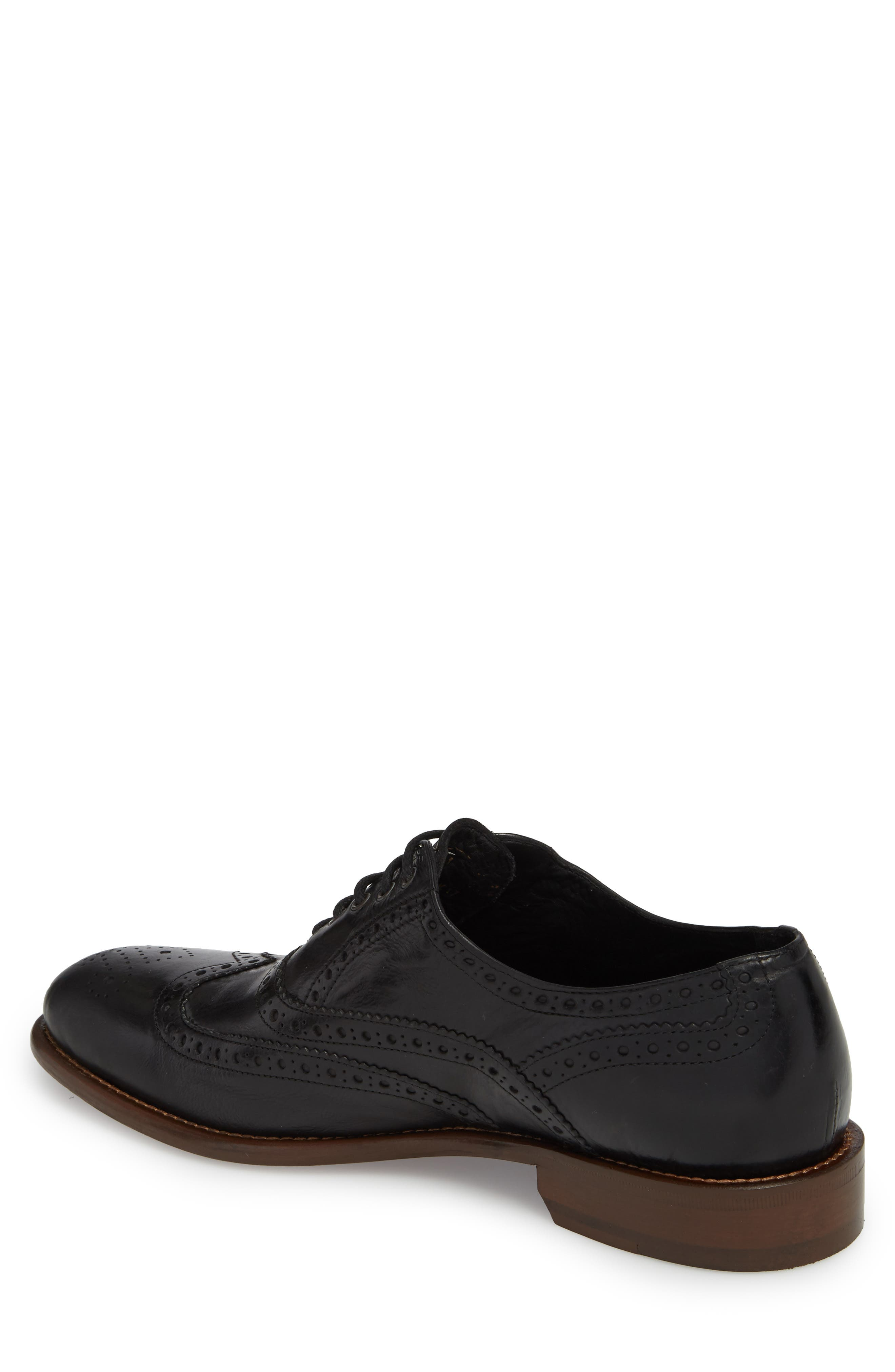 Bryson Wingtip Oxford,                             Alternate thumbnail 2, color,                             BLACK LEATHER
