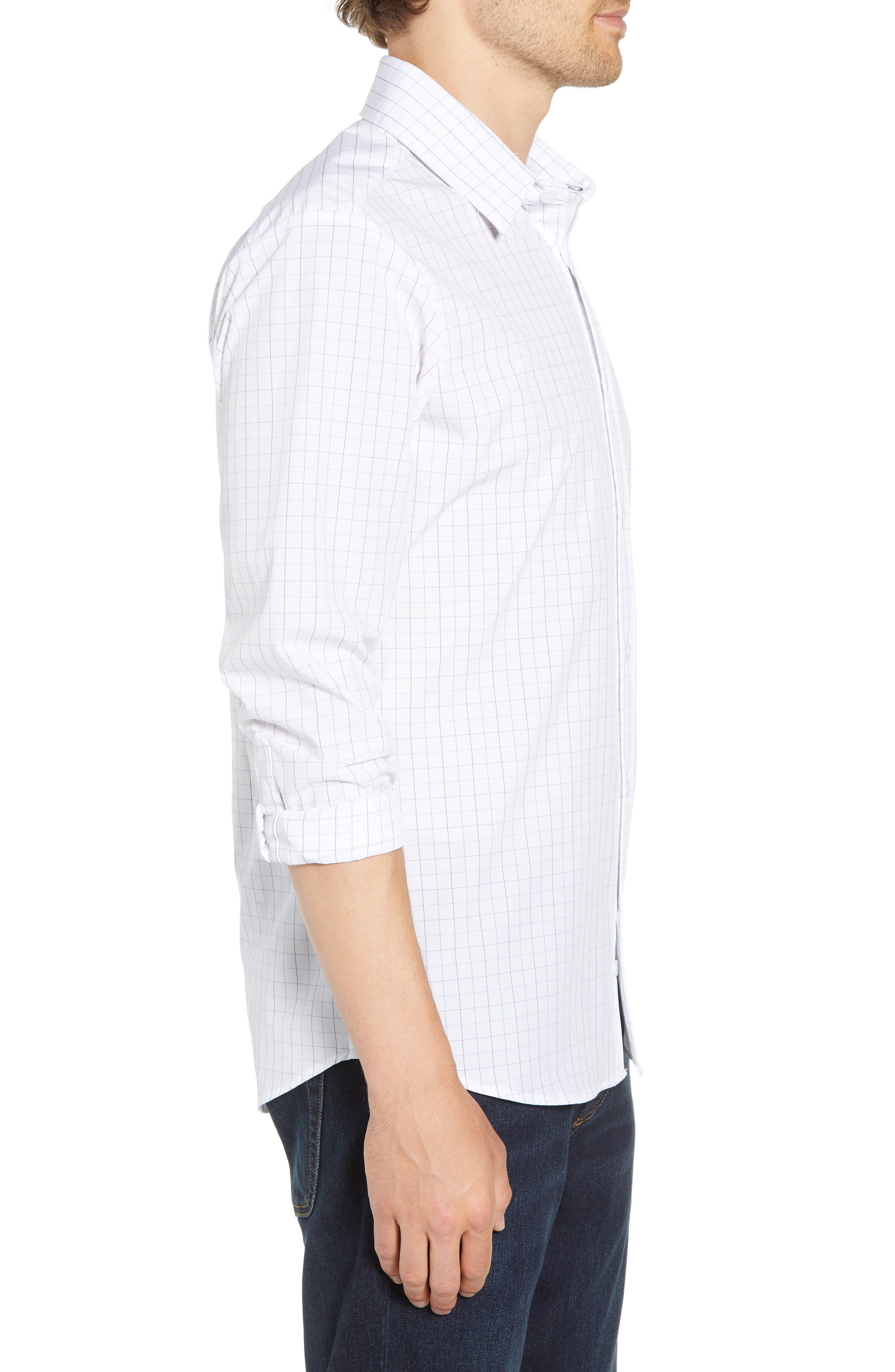 Buckner Slim Fit Grid Performance Sport Shirt,                             Alternate thumbnail 3, color,                             400