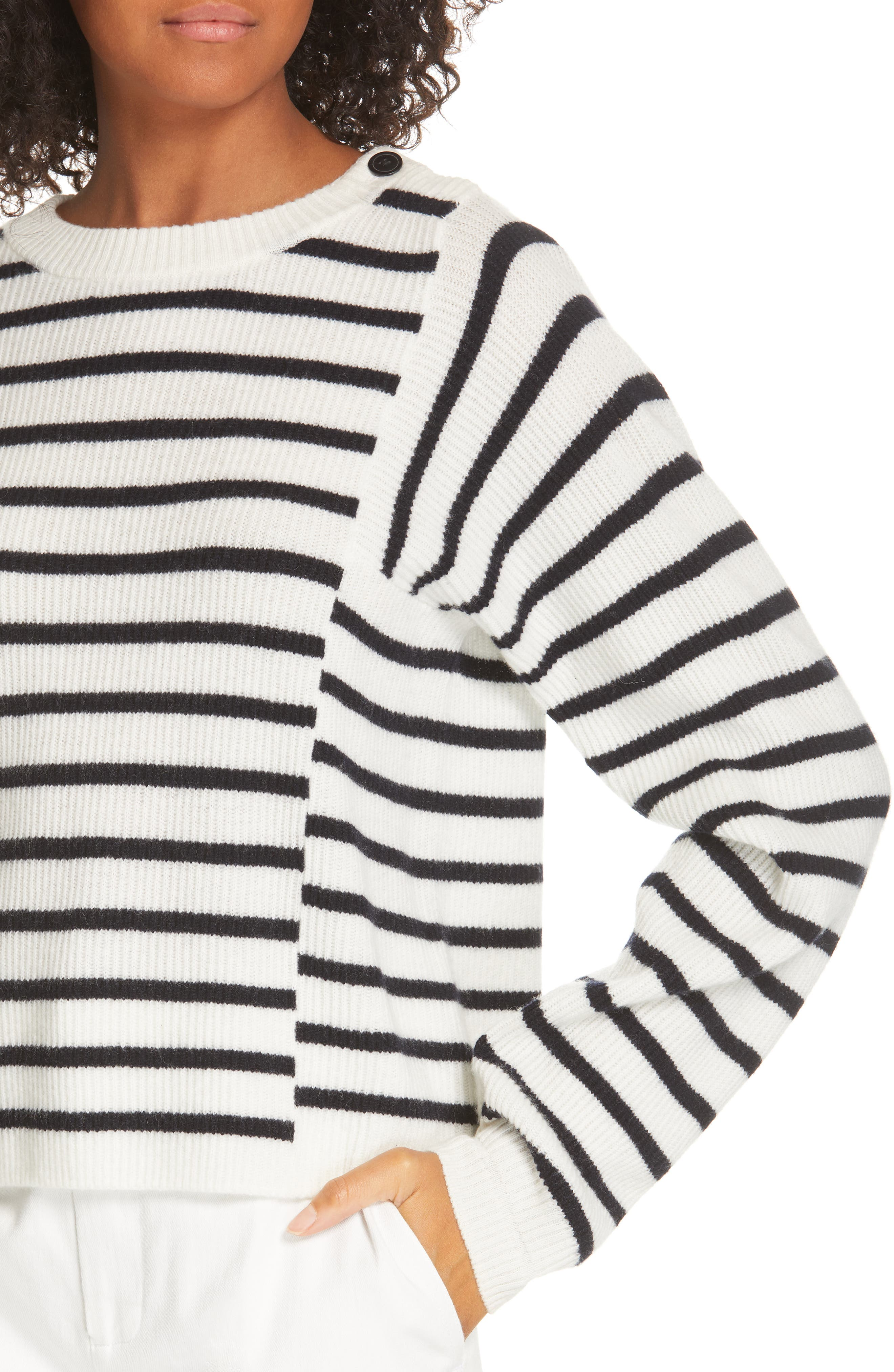 Mixed Stripe Sweater,                             Alternate thumbnail 4, color,                             OFF WHITE/ COASTAL