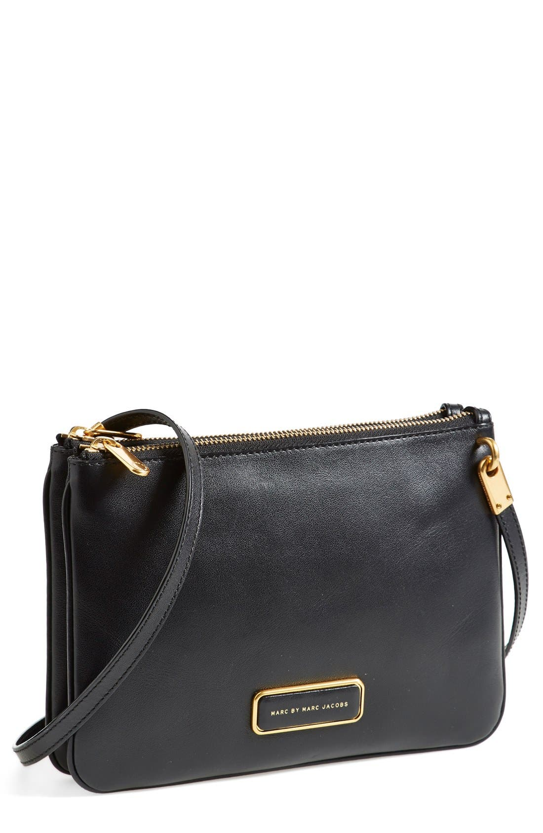 MARC JACOBS MARC BY MARC JACOBS 'Double Percy' Crossbody Bag, Main, color, 001
