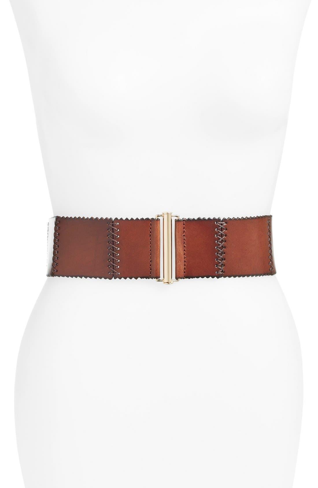 ELISE M.,                             'Woodland' Stitched Leather Belt,                             Main thumbnail 1, color,                             250