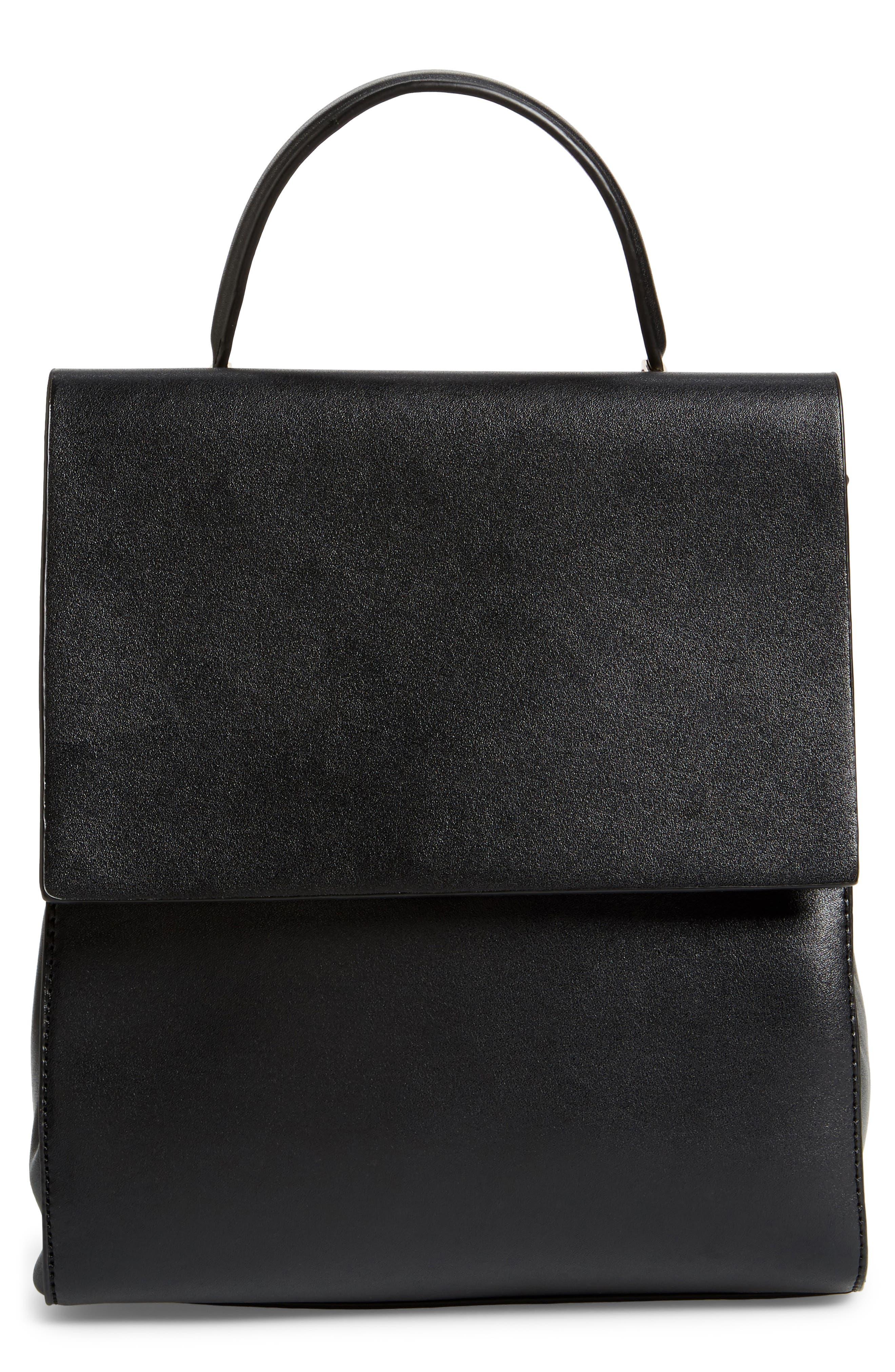 Mini Scandi Faux Leather Backpack,                             Main thumbnail 1, color,                             001