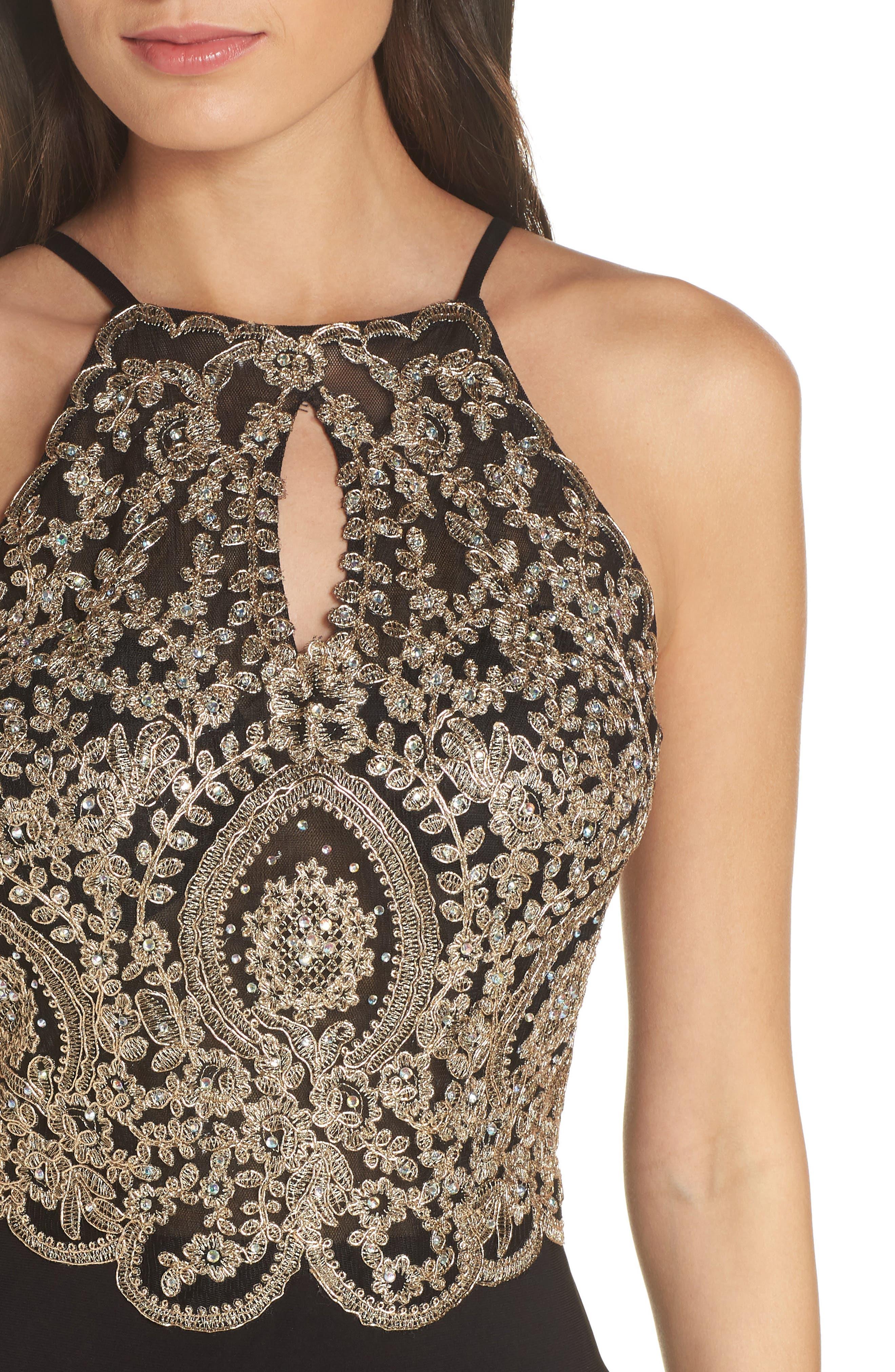 BLONDIE NITES,                             Embellished Appliqué Halter Gown,                             Alternate thumbnail 4, color,                             BLACK/ GOLD