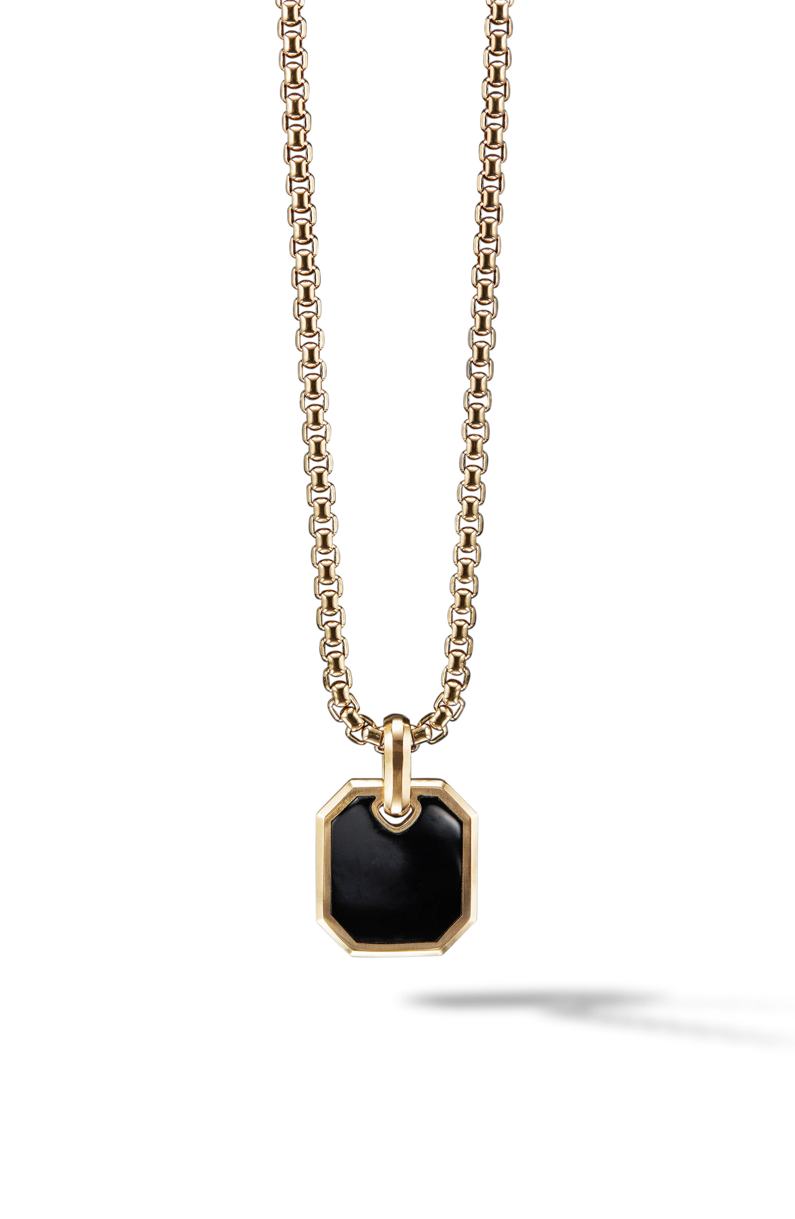 Roman 18K Gold Amulet Enhancer with Black Onyx,                         Main,                         color, BLACK ONYX