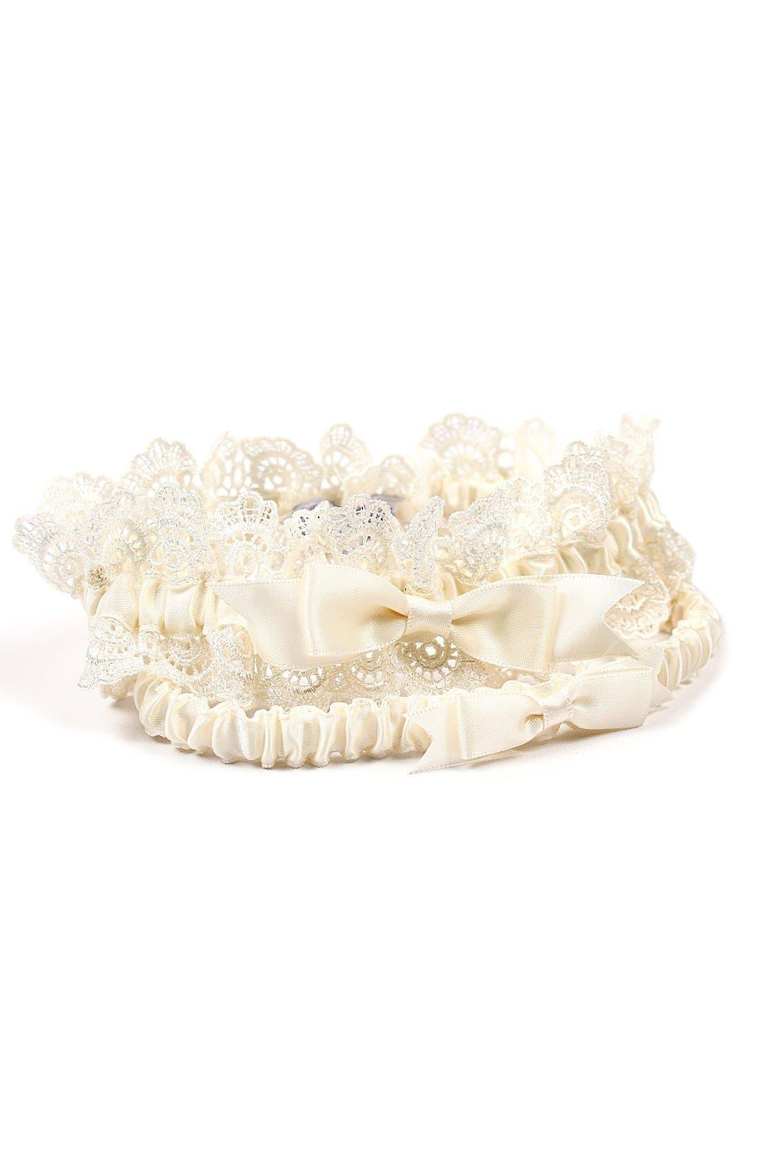 'Eleanor' Lace Wedding Garter,                             Main thumbnail 1, color,