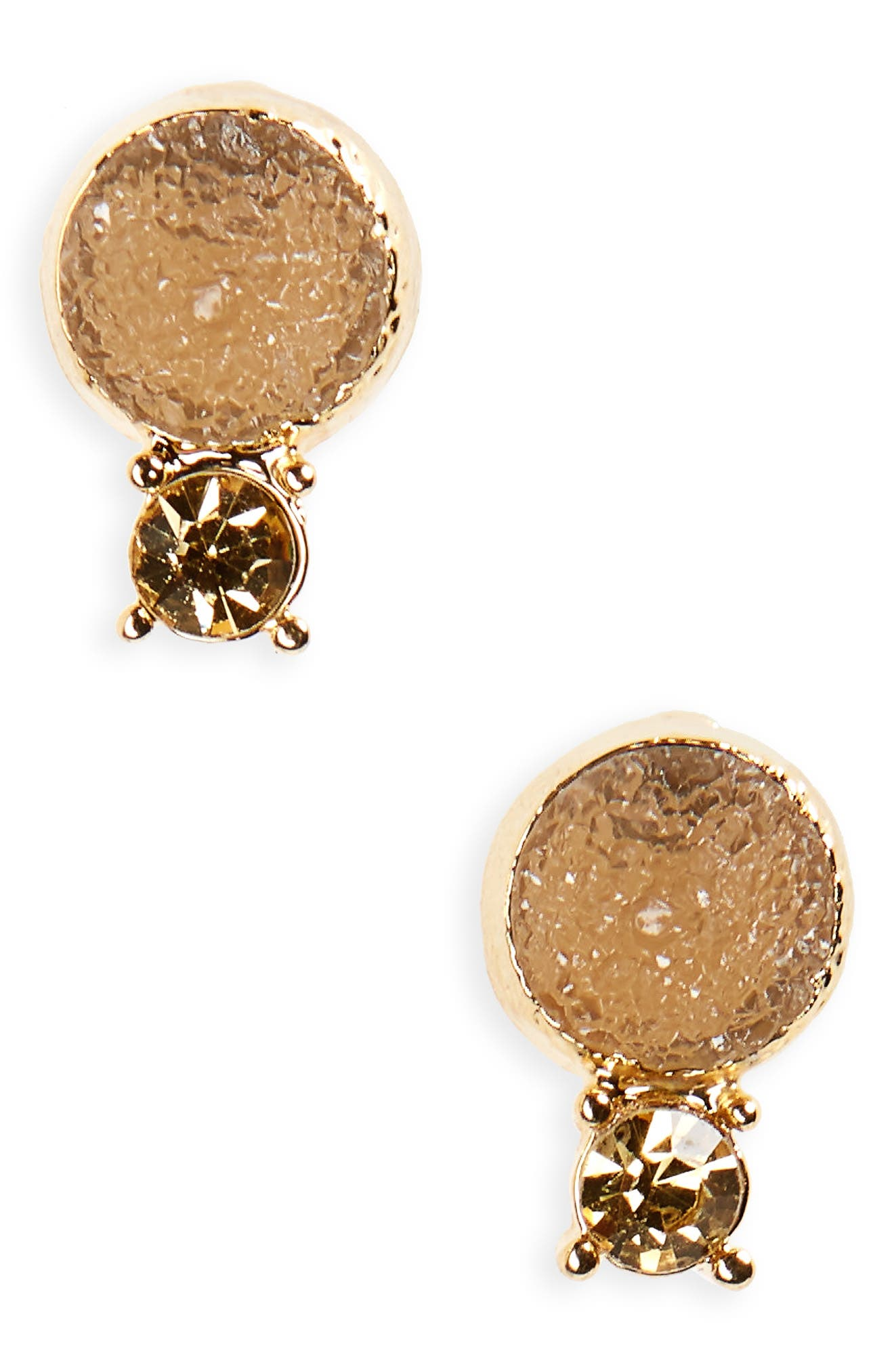 Crystal & Faux Drusy Stud Earrings,                             Main thumbnail 2, color,