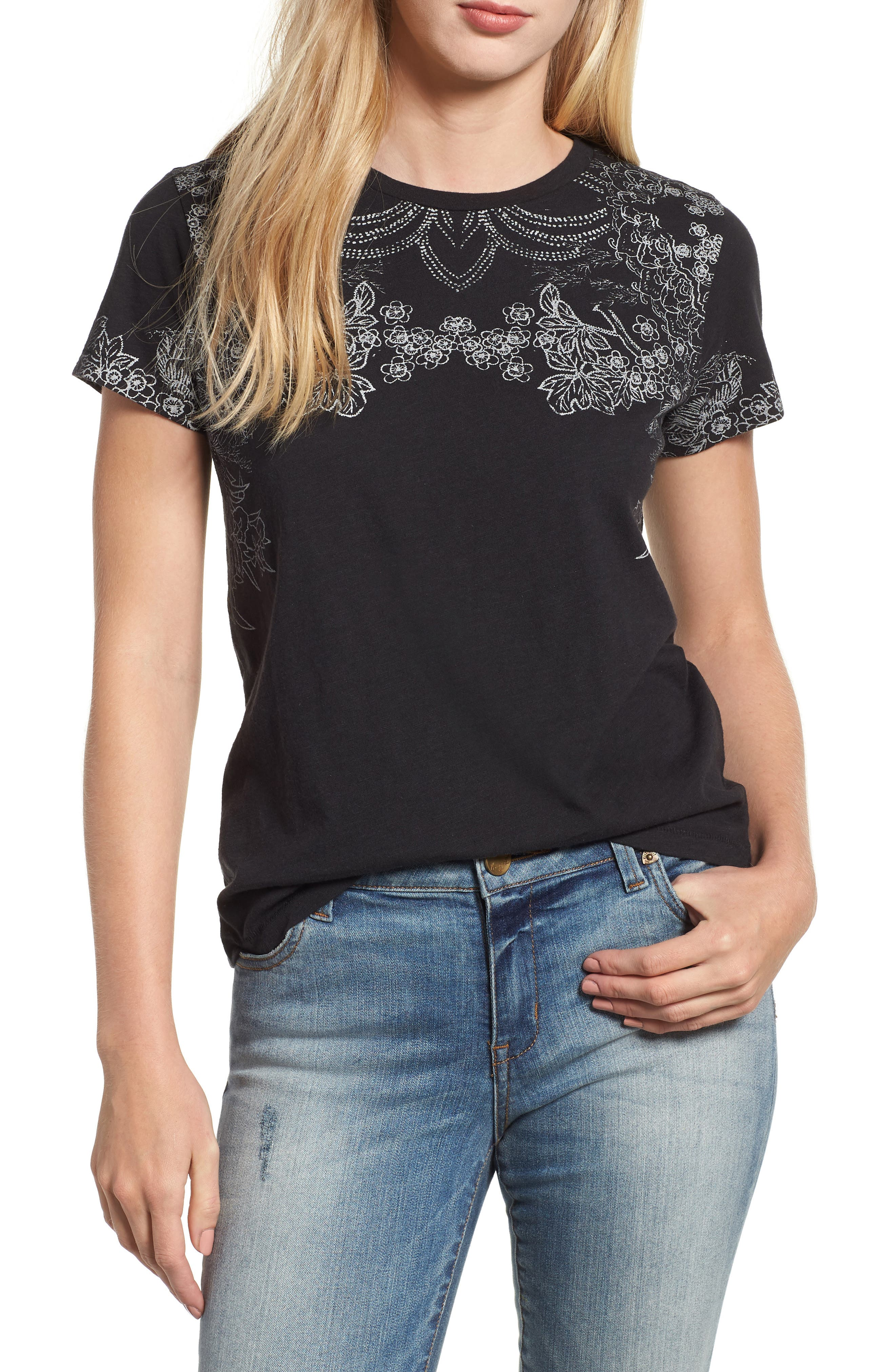 LUCKY BRAND,                             Embroidered Tee,                             Main thumbnail 1, color,                             001