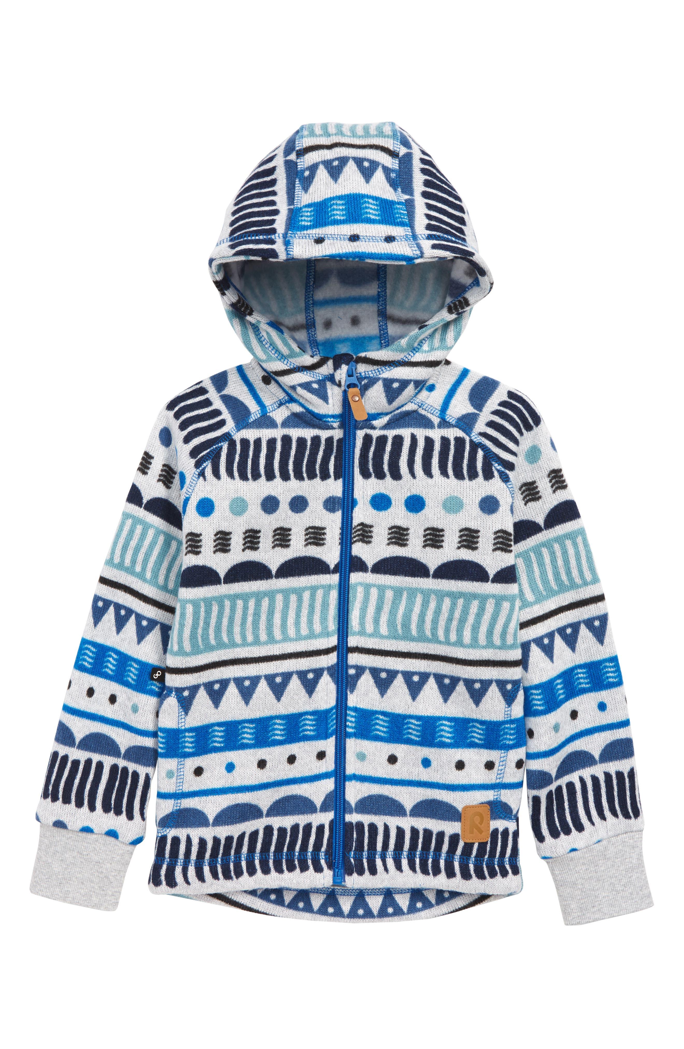 Boys Reima Northern Knit Fleece Hooded Sweatshirt Size 6Y  116 cm  Blue