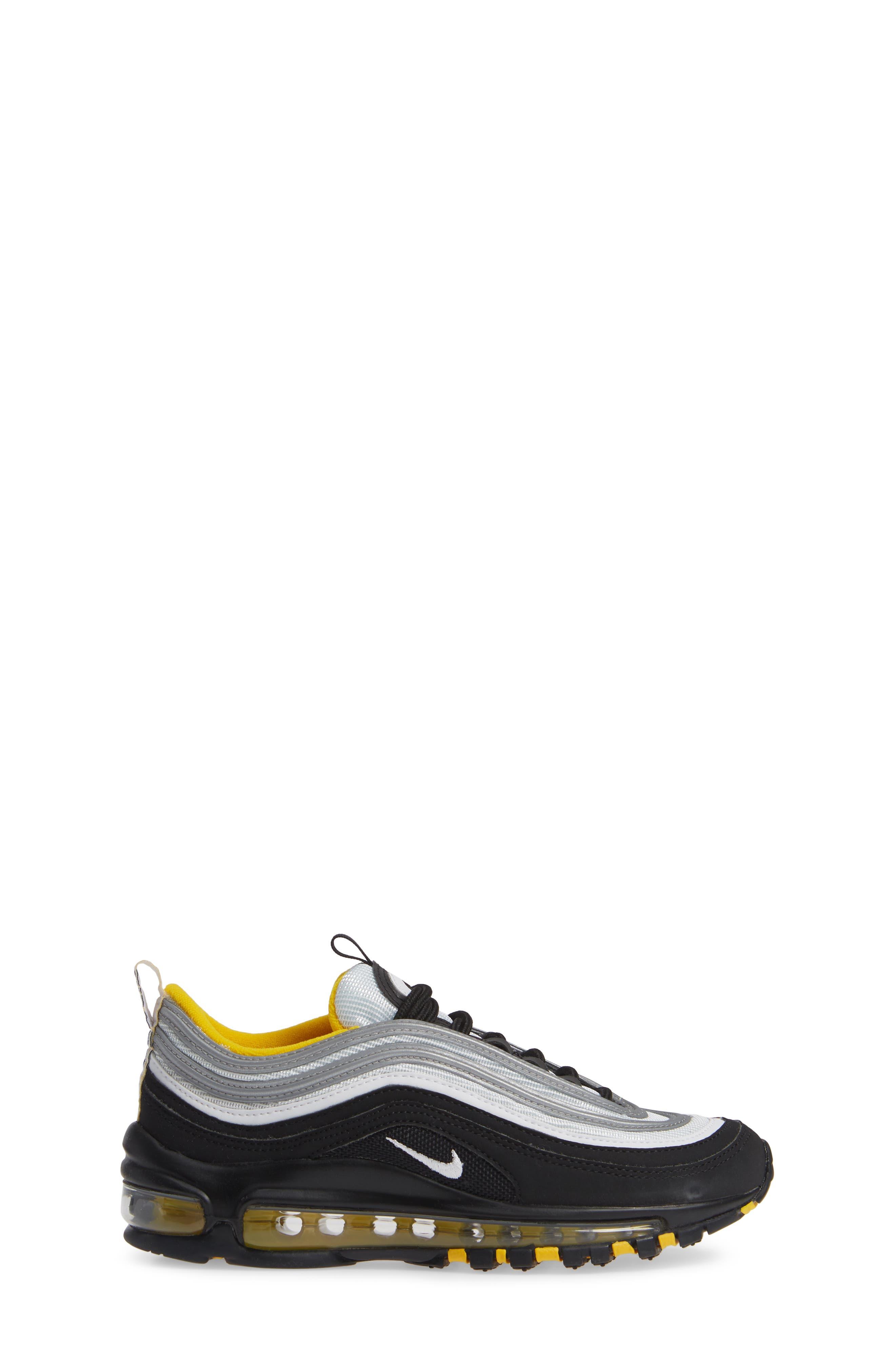 Air Max 97 Sneaker,                             Alternate thumbnail 3, color,                             BLACK/ WHITE/ AMARILLO