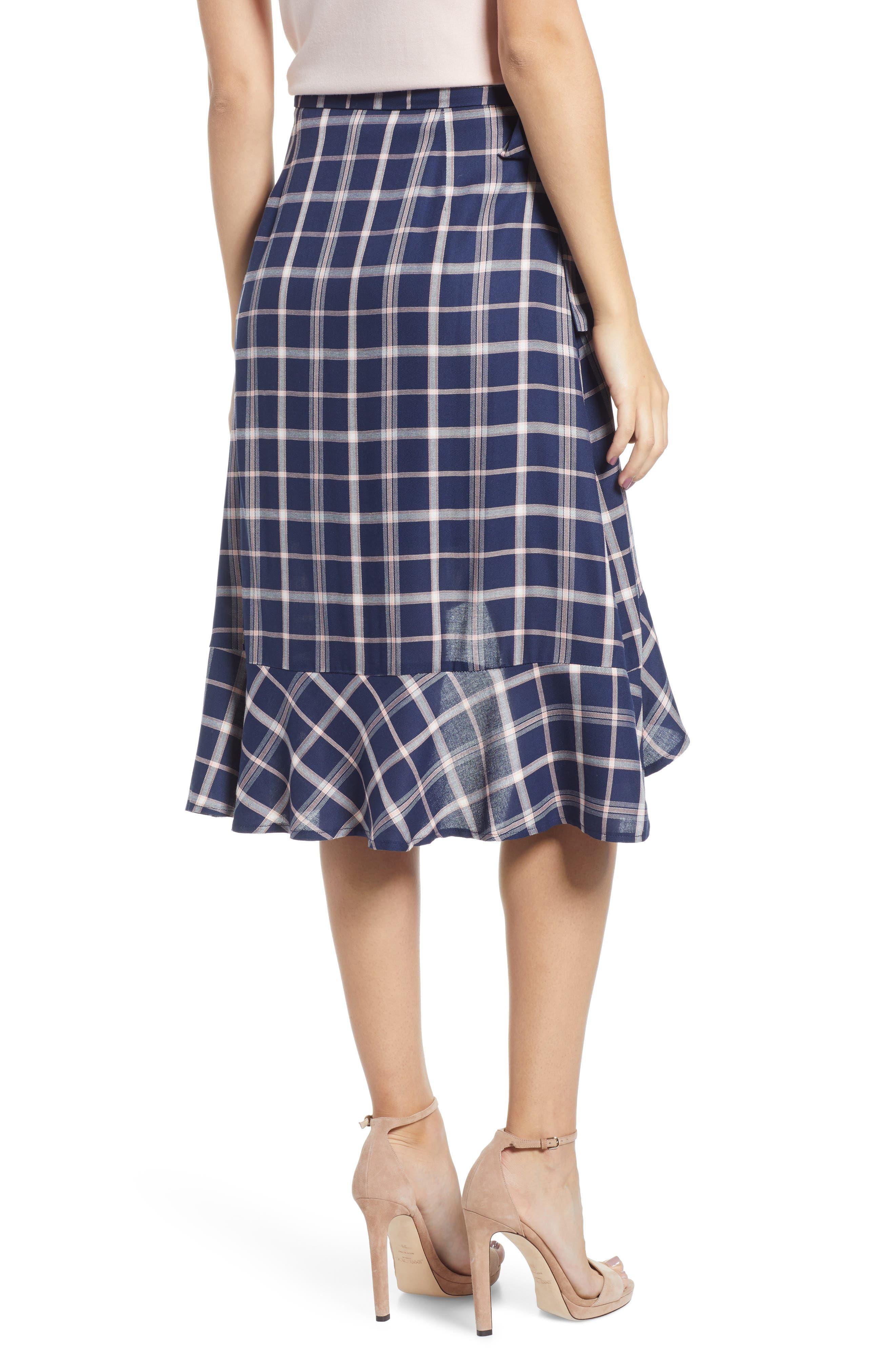 SOMEDAYS LOVIN,                             Plaid Ruffle Wrap Skirt,                             Alternate thumbnail 2, color,                             NAVY