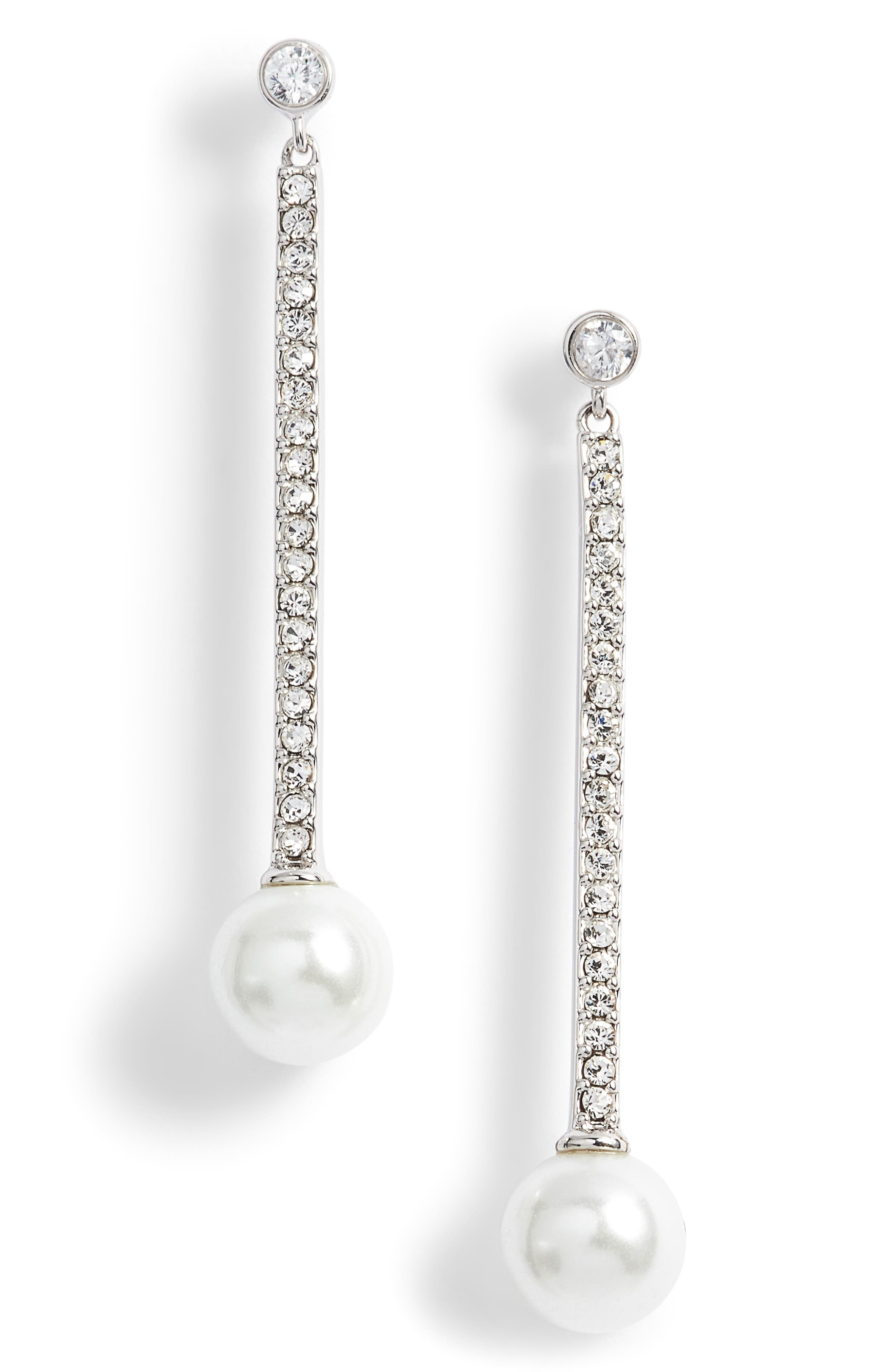 precious pearls imitation pearl linear earrings,                             Main thumbnail 1, color,                             040