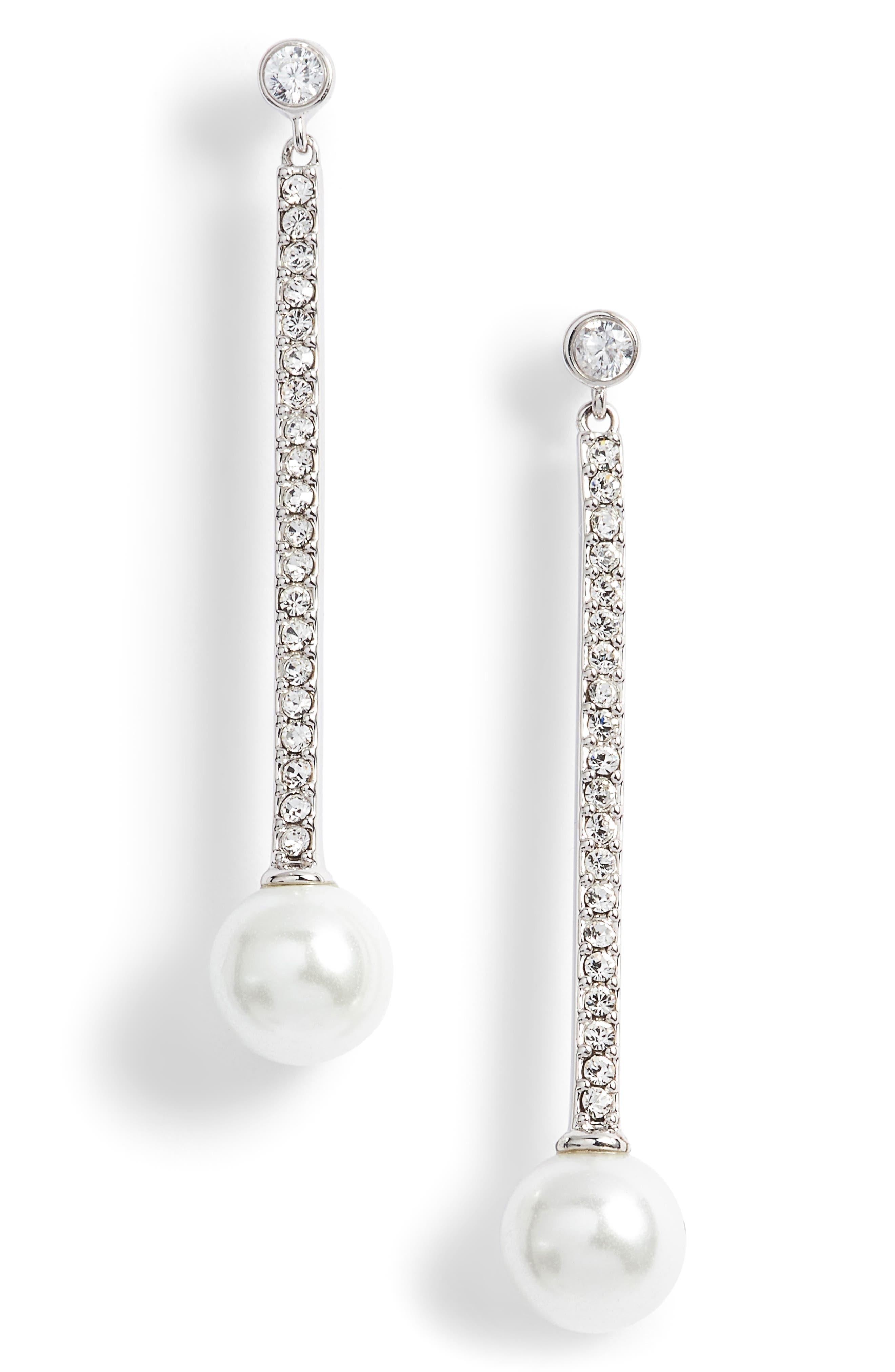 precious pearls imitation pearl linear earrings,                         Main,                         color, 040