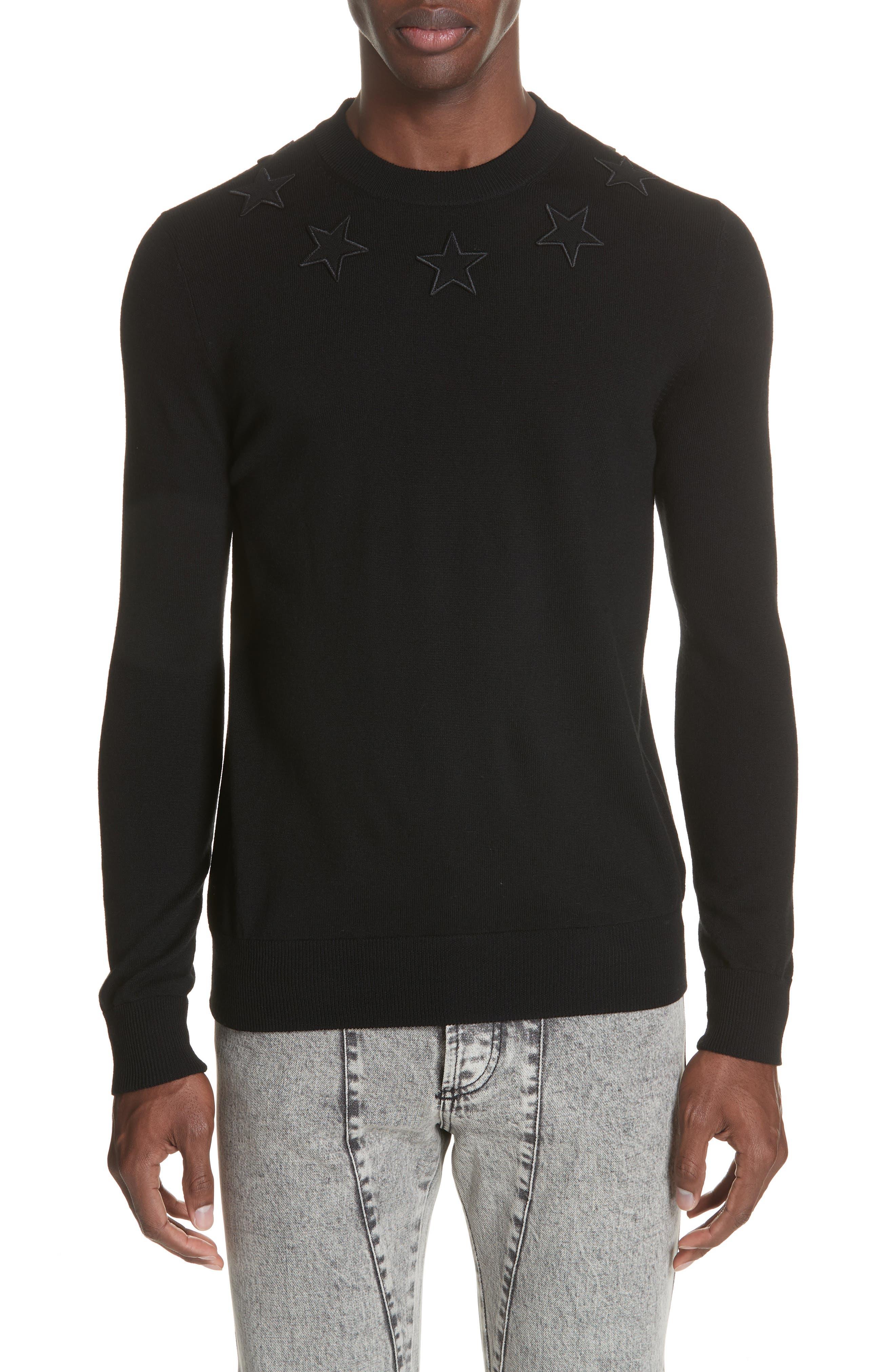 Tonal Star Wool Sweater,                             Main thumbnail 1, color,                             BLACK
