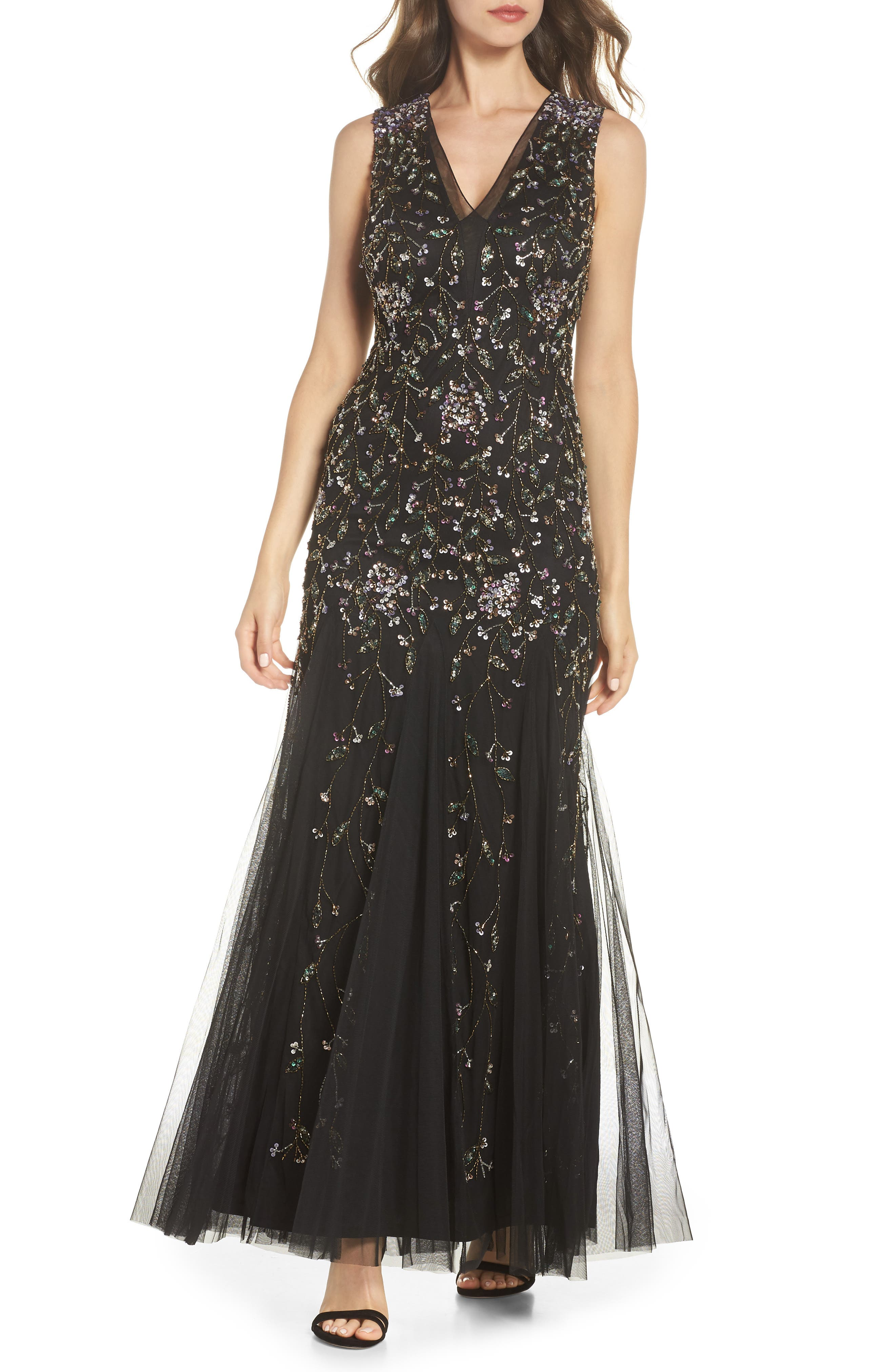 Beaded Gown,                         Main,                         color, BLACK MULTI