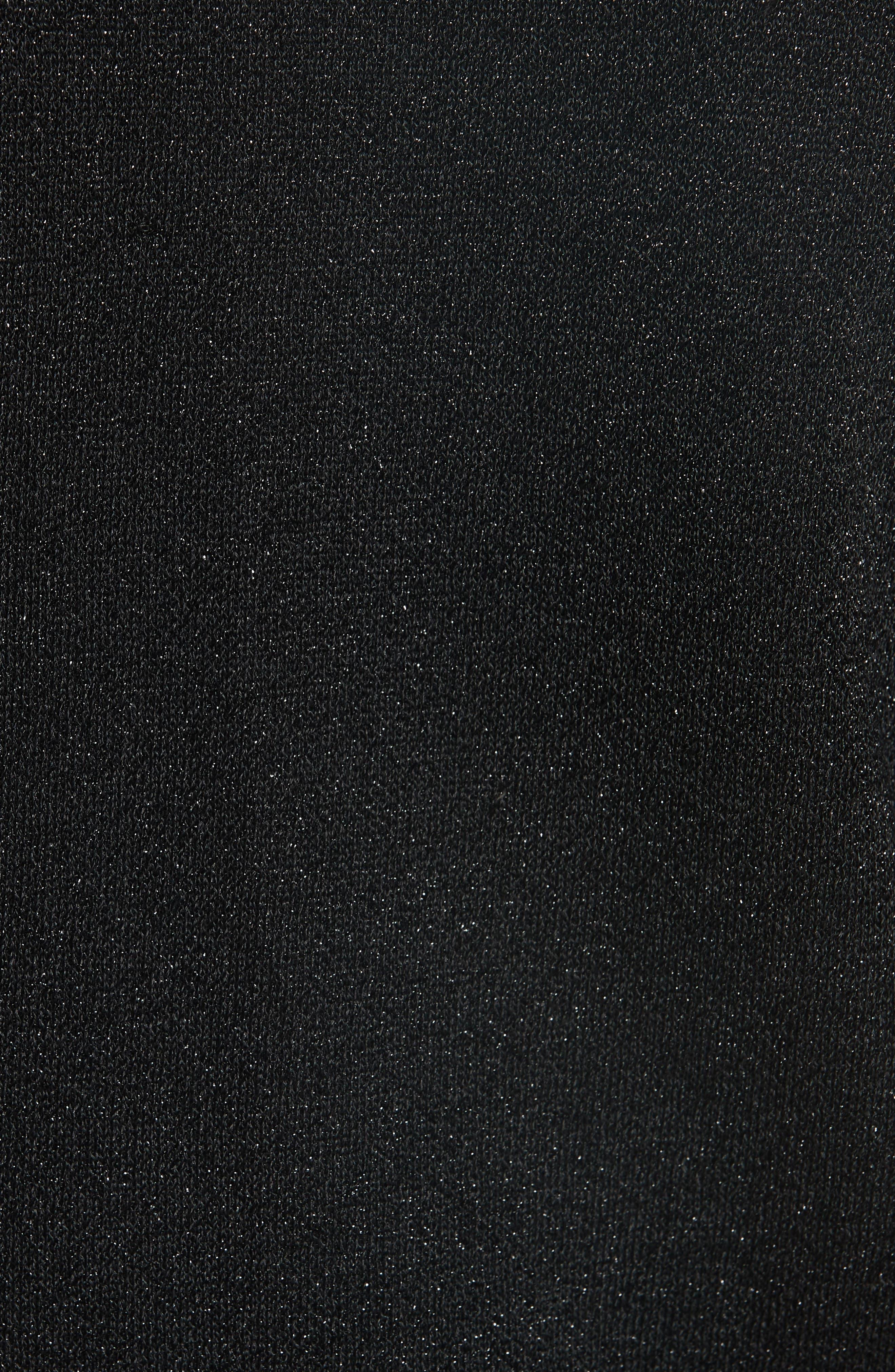 Ruthy Ruffle Cuff Sparkle Wool Blend Cardigan,                             Alternate thumbnail 5, color,                             BLACK METALLIC
