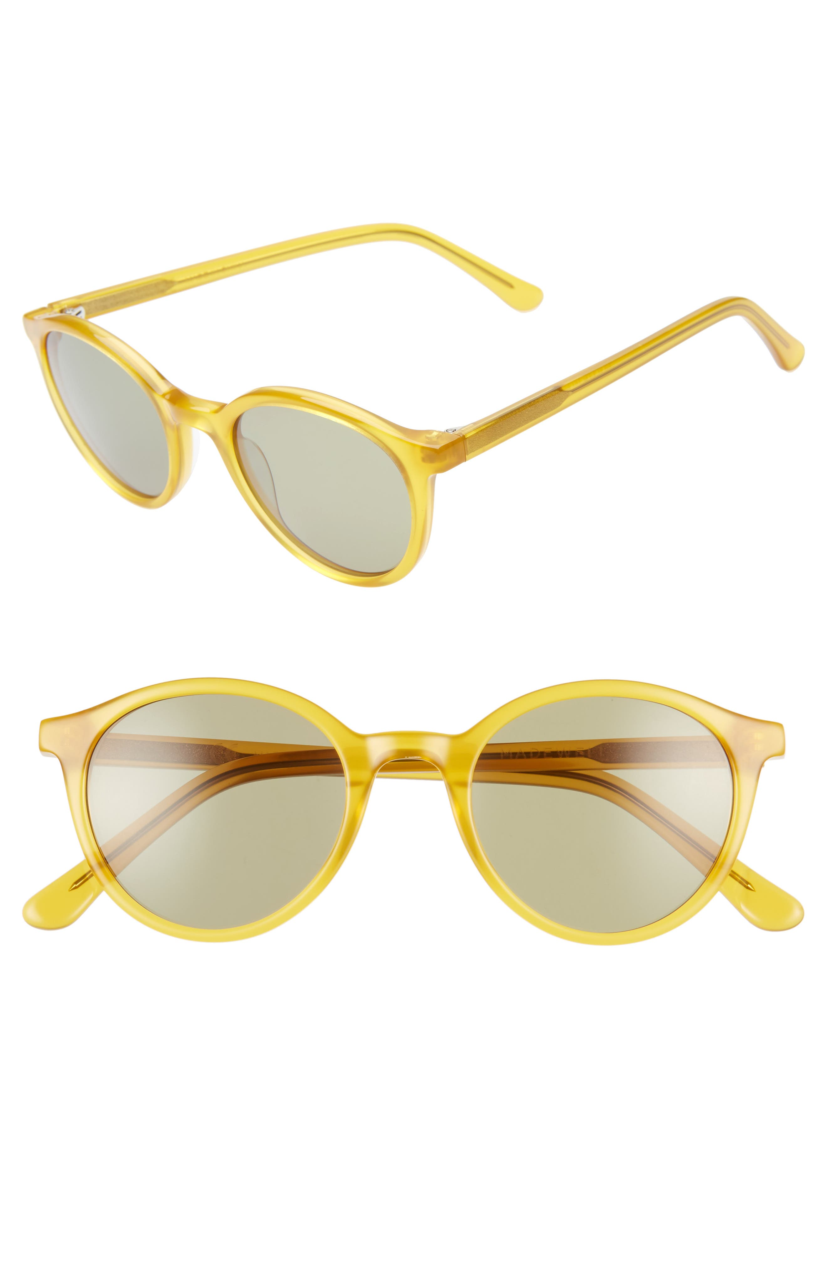 Madewell Layton 4m Round Sunglasses - Frosted Bronze/ Leaf