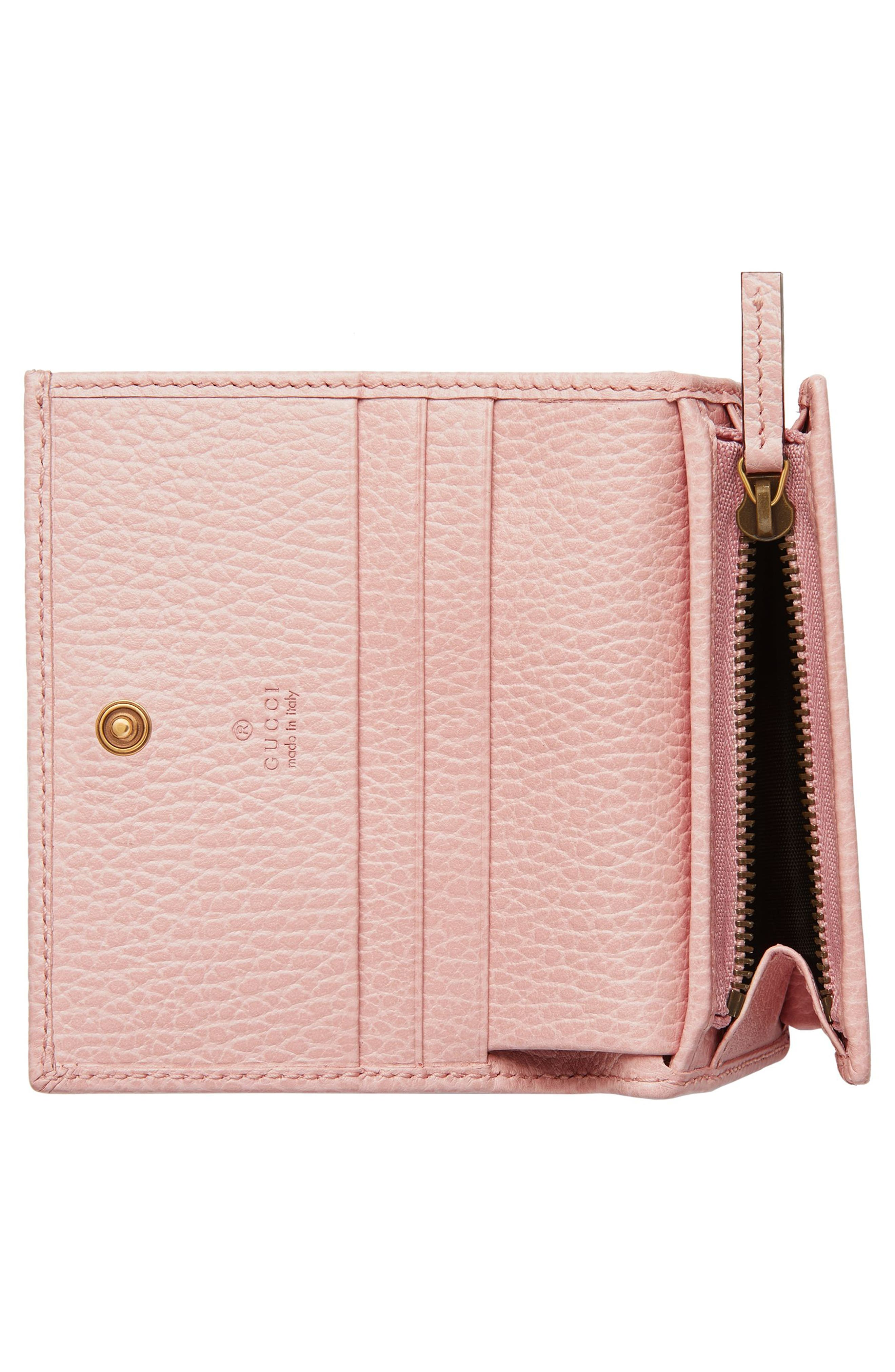 Farfalla Leather Card Case,                             Alternate thumbnail 2, color,                             PERFECT PINK/ CRYSTAL