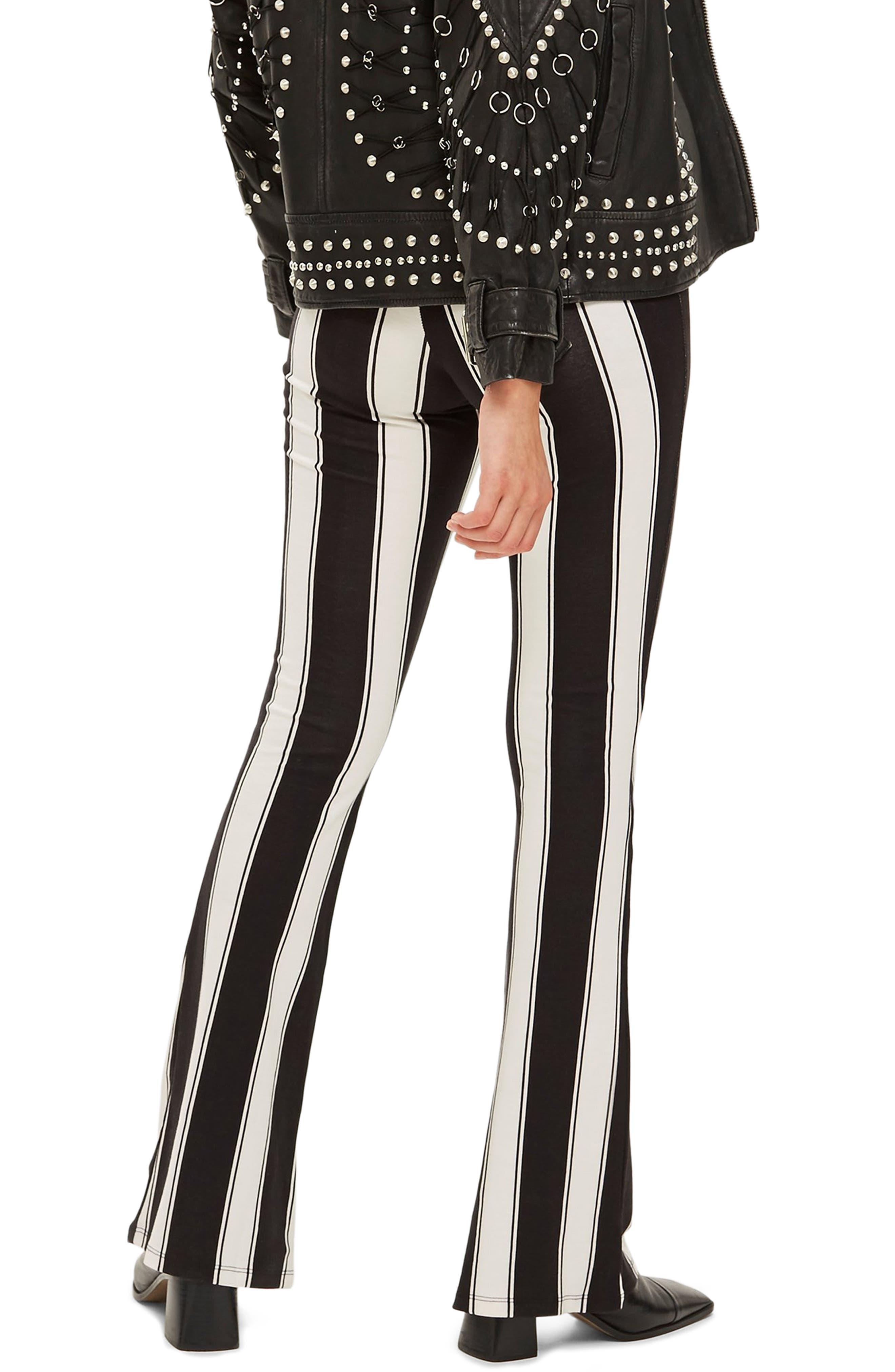 Stripe Flare Trousers,                             Alternate thumbnail 2, color,                             BLACK MULTI