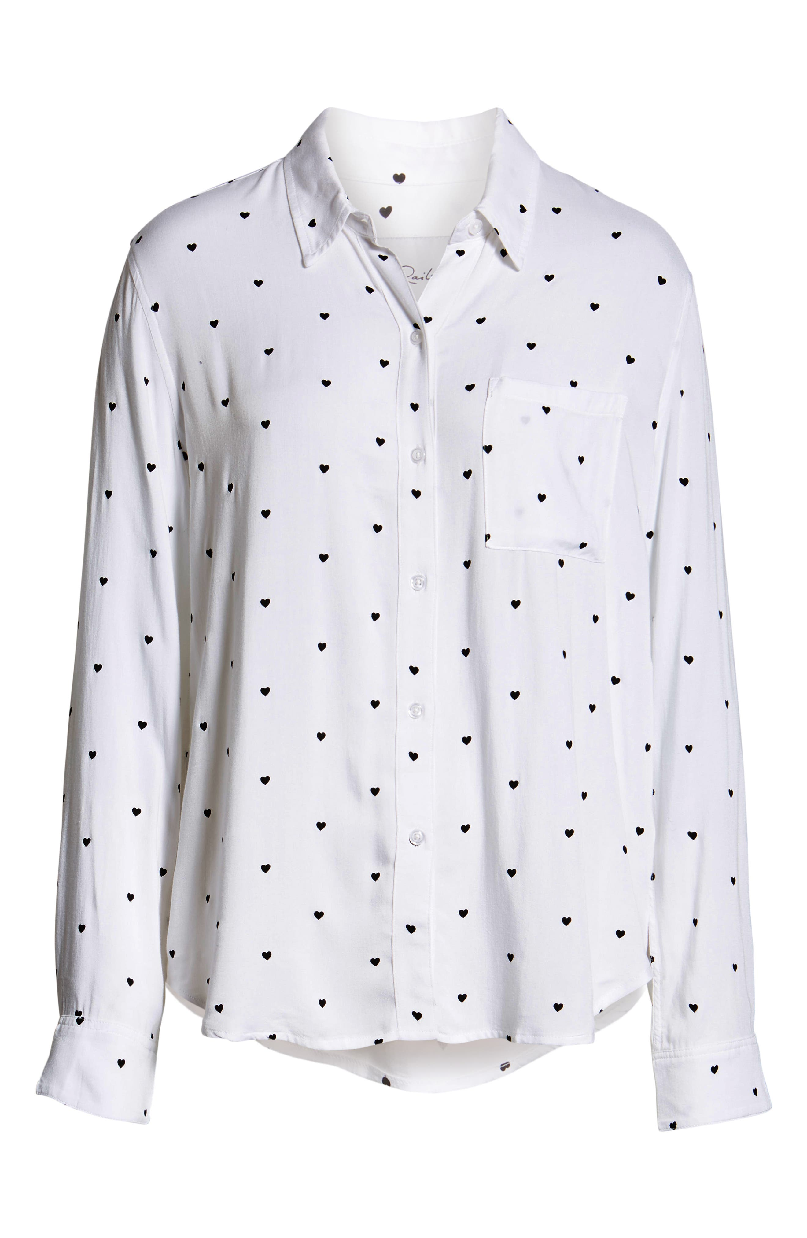Rocsi Heart Print Shirt,                             Alternate thumbnail 6, color,                             100