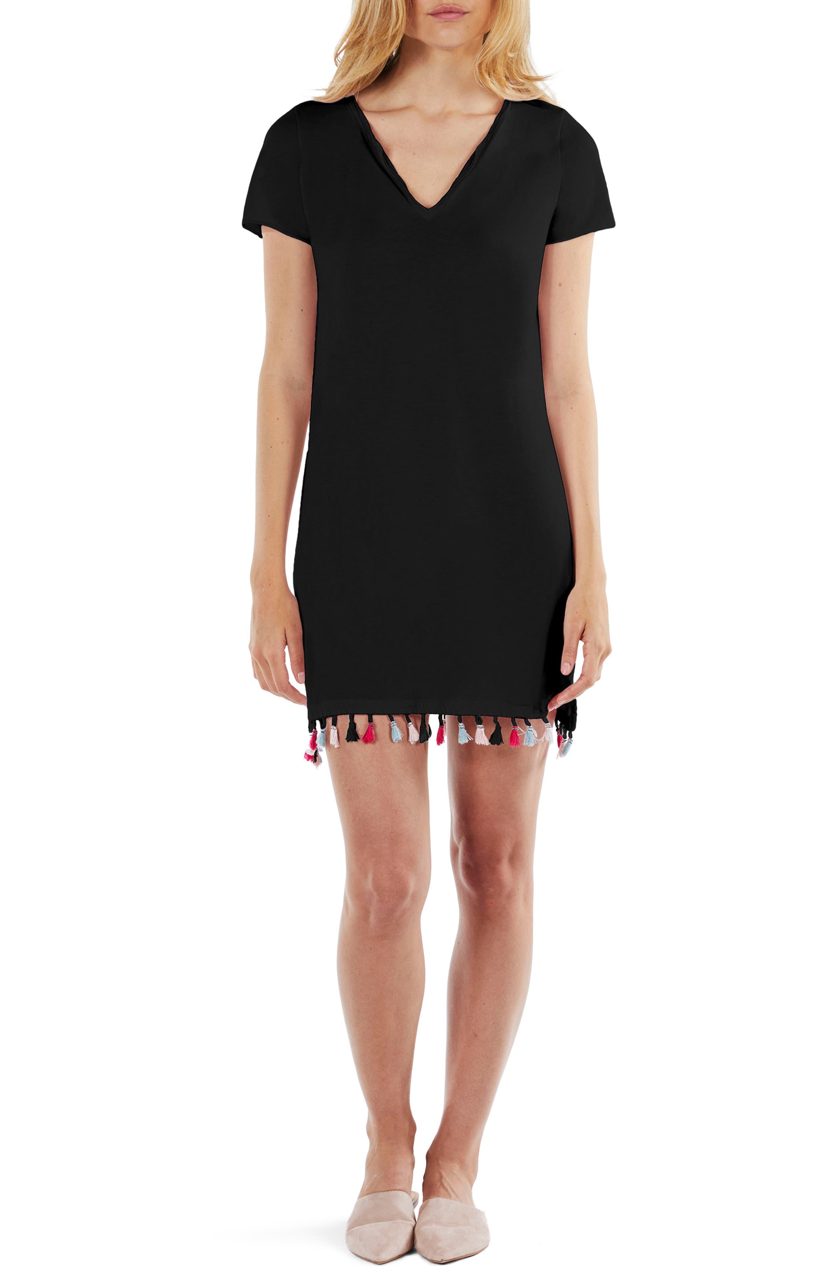 Tassel Fringe Shift Dress,                         Main,                         color, 001