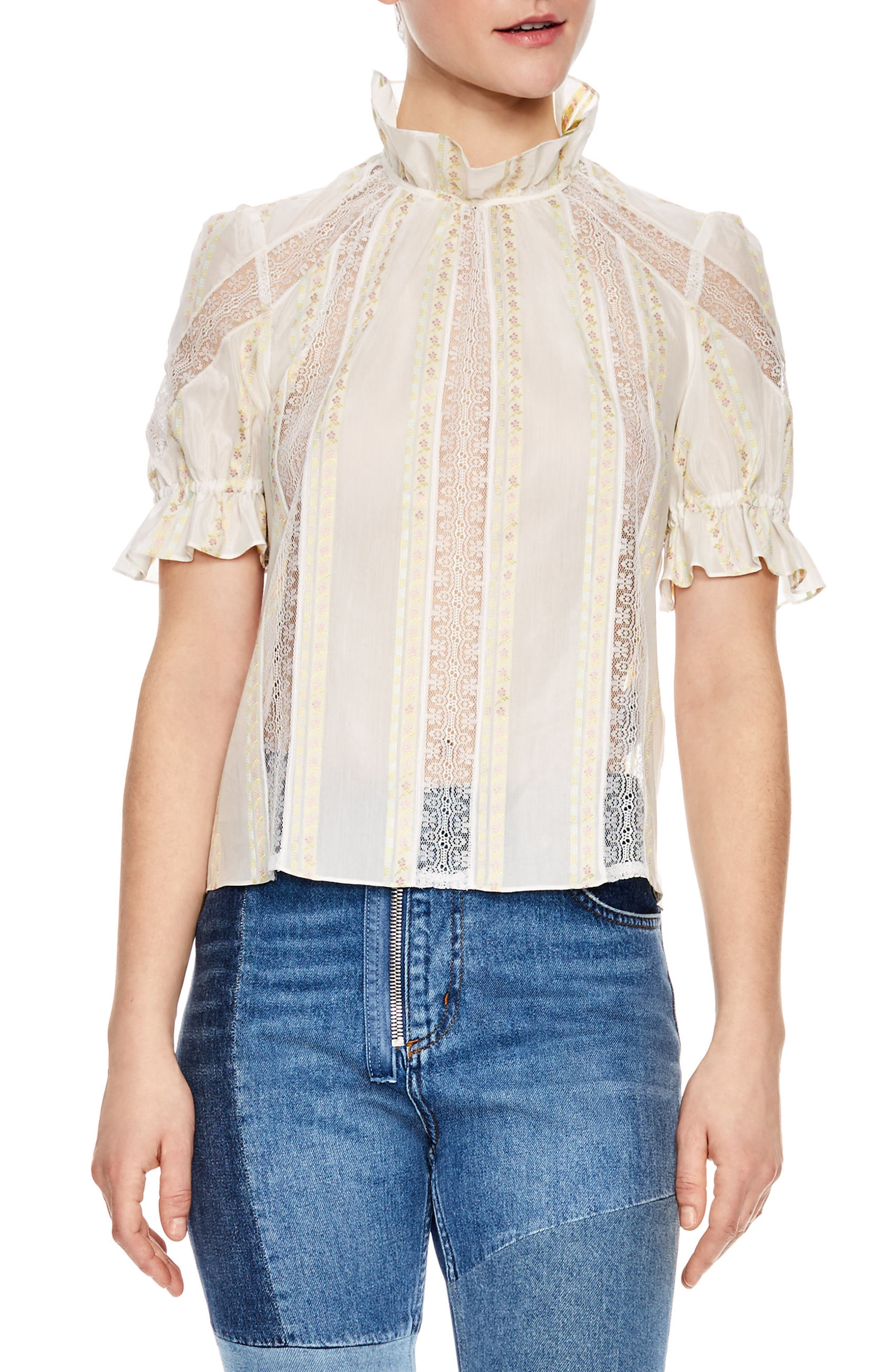 Ecru Lace Inset Blouse,                             Main thumbnail 1, color,                             900