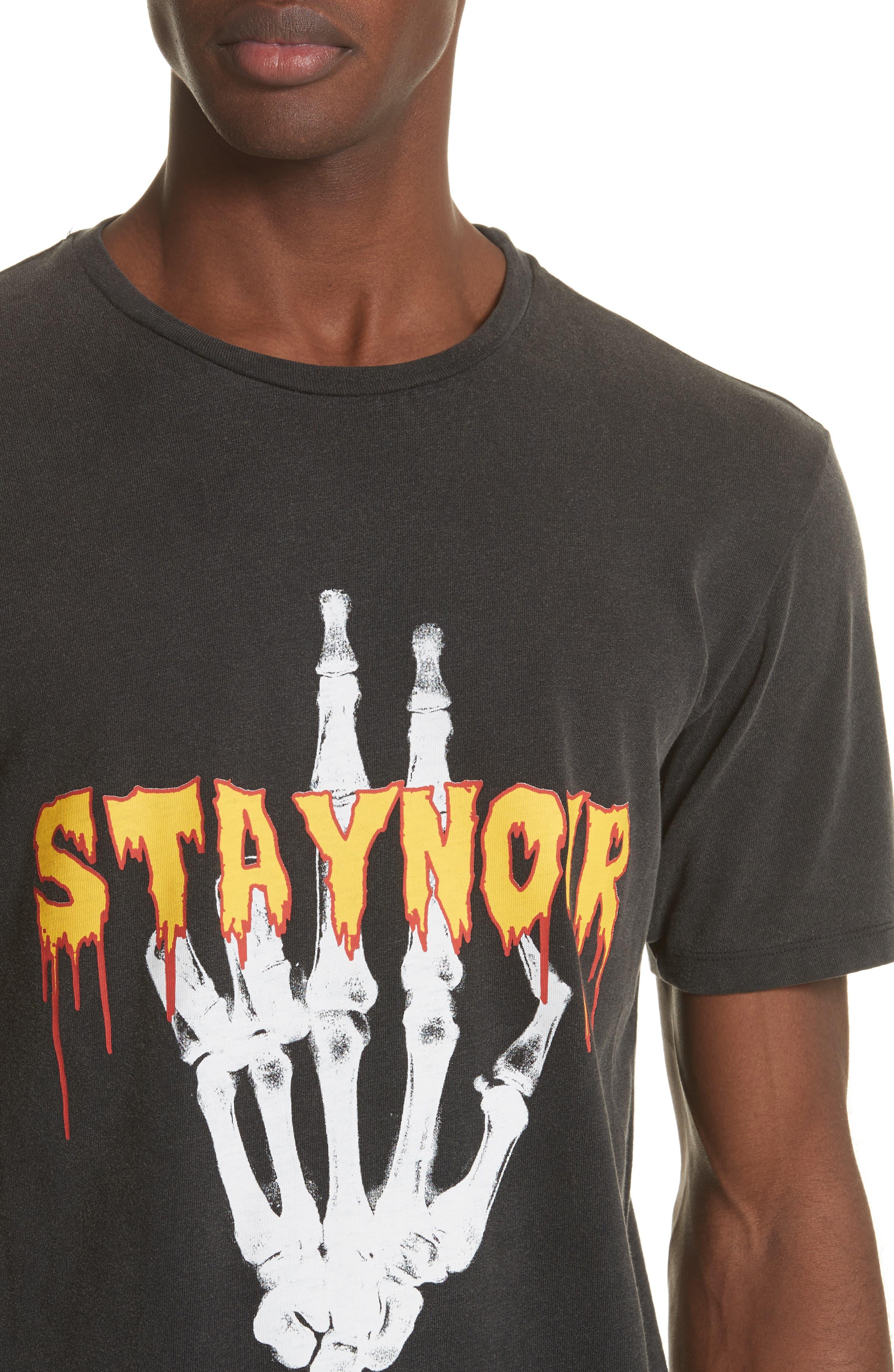 Skeleton Hand Graphic T-Shirt,                             Alternate thumbnail 4, color,                             001