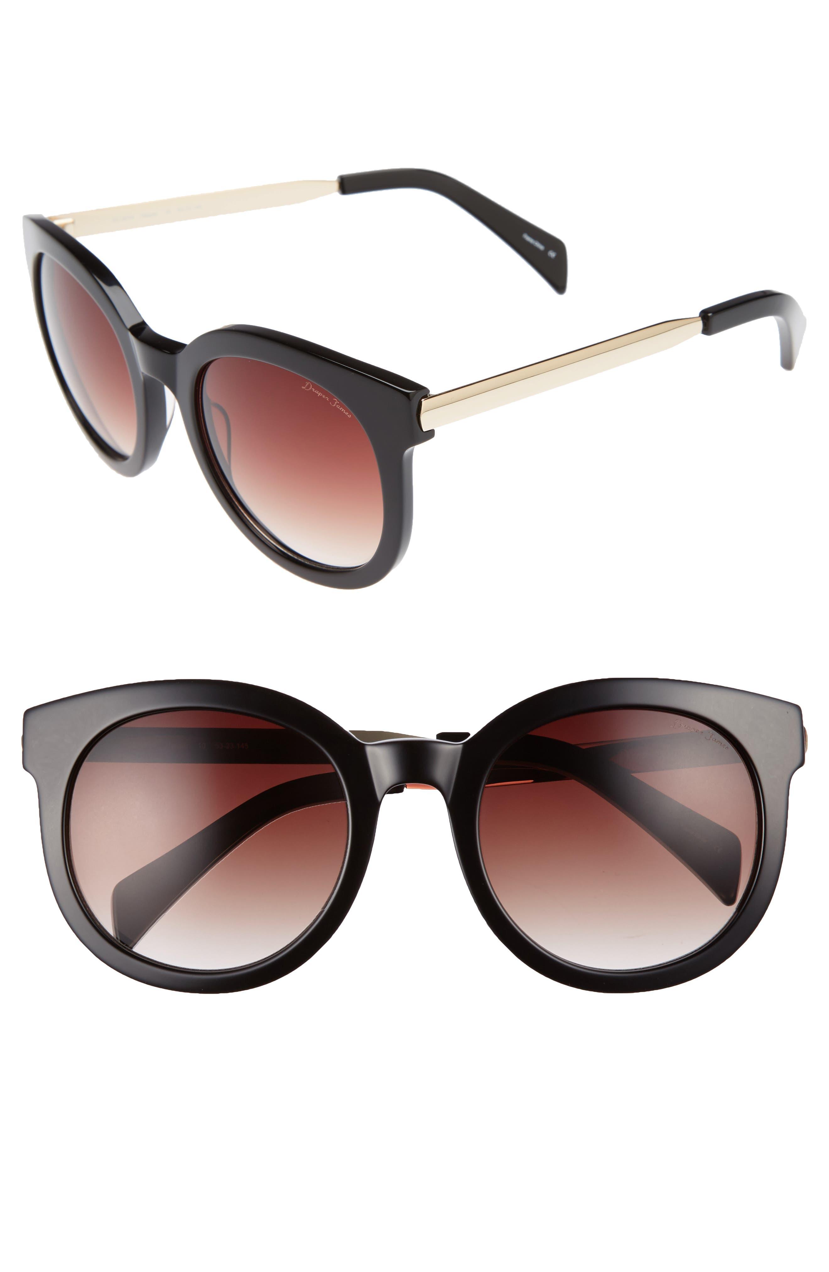 53mm Gradient Lens Round Sunglasses,                             Main thumbnail 1, color,                             001