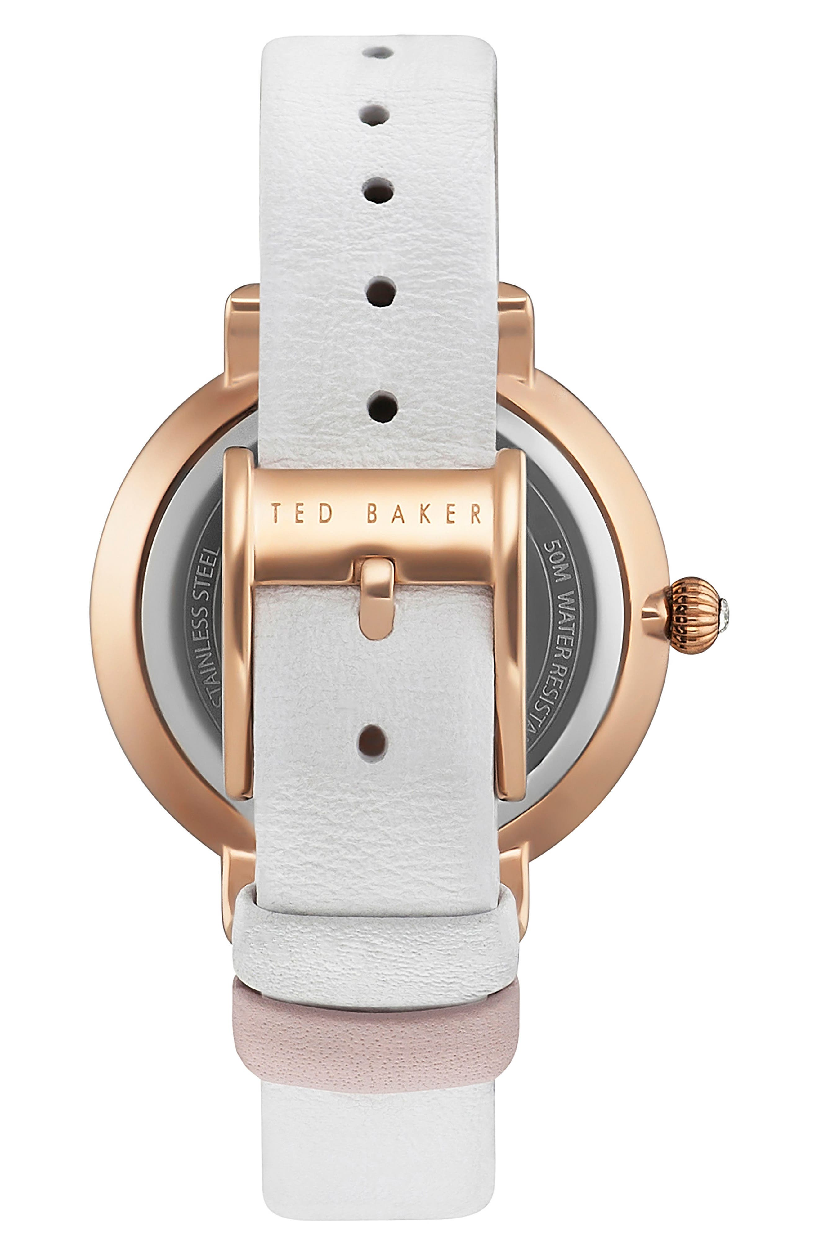 Isla Round Leather Strap Watch, 36mm,                             Alternate thumbnail 9, color,