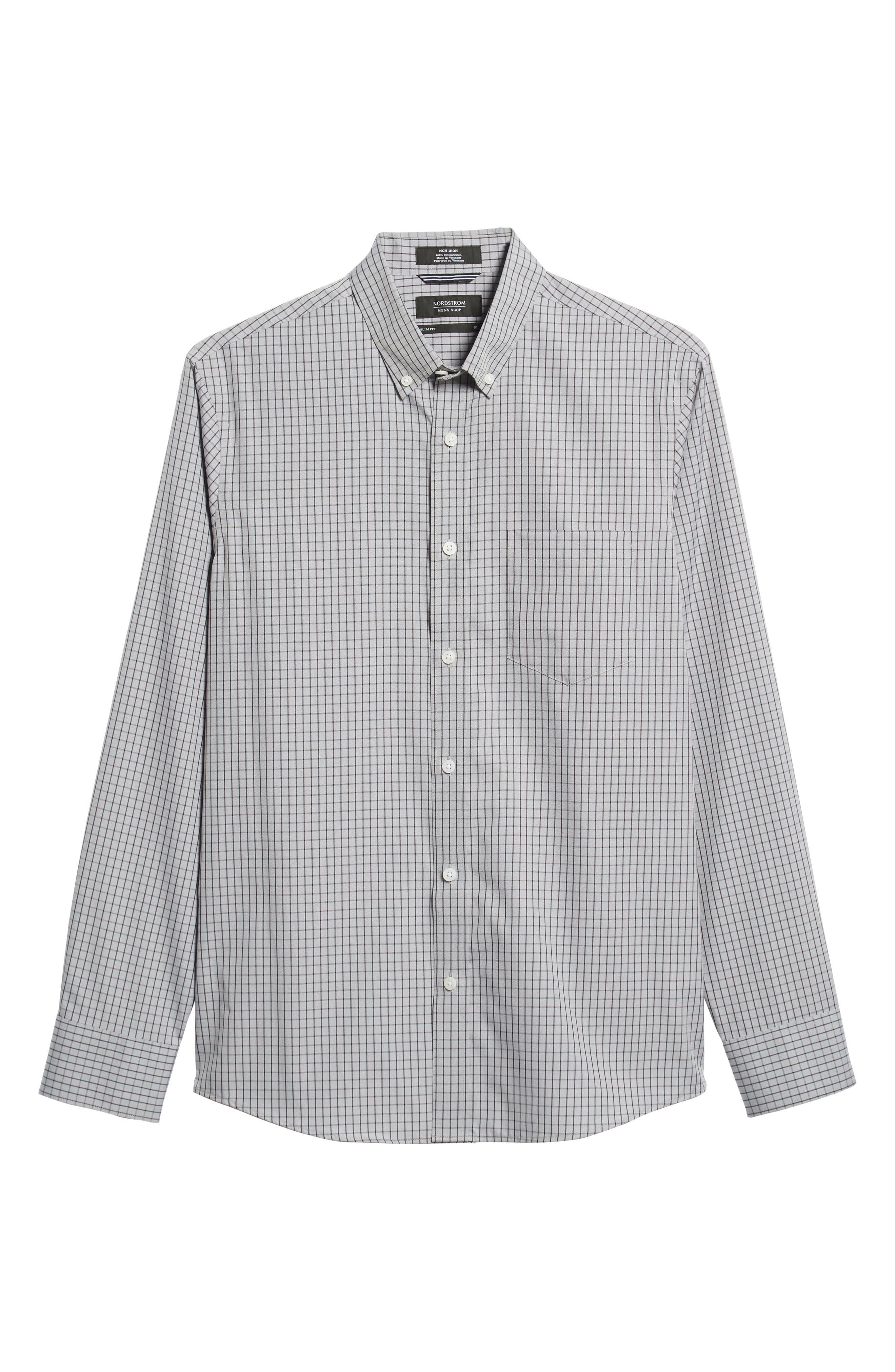 NORDSTROM MEN'S SHOP,                             Trim Fit Non-Iron Check Sport Shirt,                             Alternate thumbnail 5, color,                             GREY FILIGREE MINIGRID