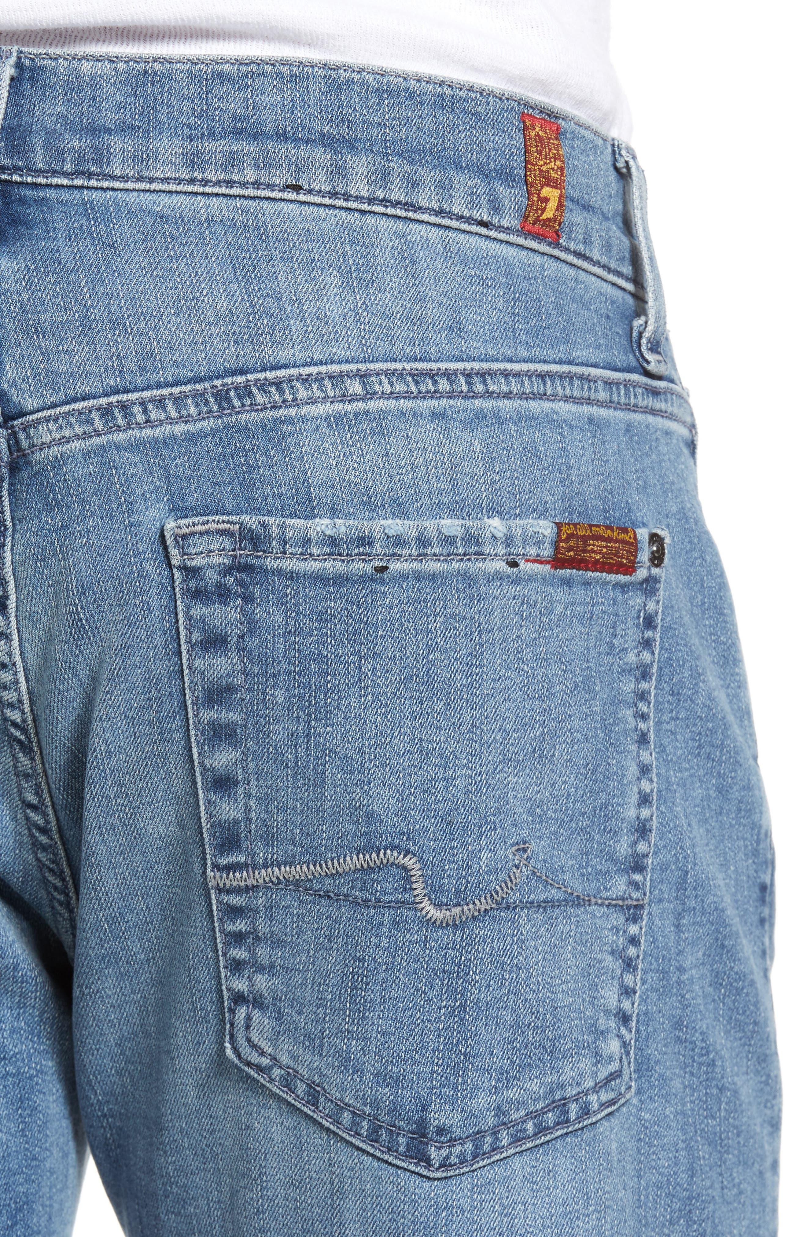 7 For All Mankind Slim Straight Leg Jeans,                             Alternate thumbnail 4, color,                             400