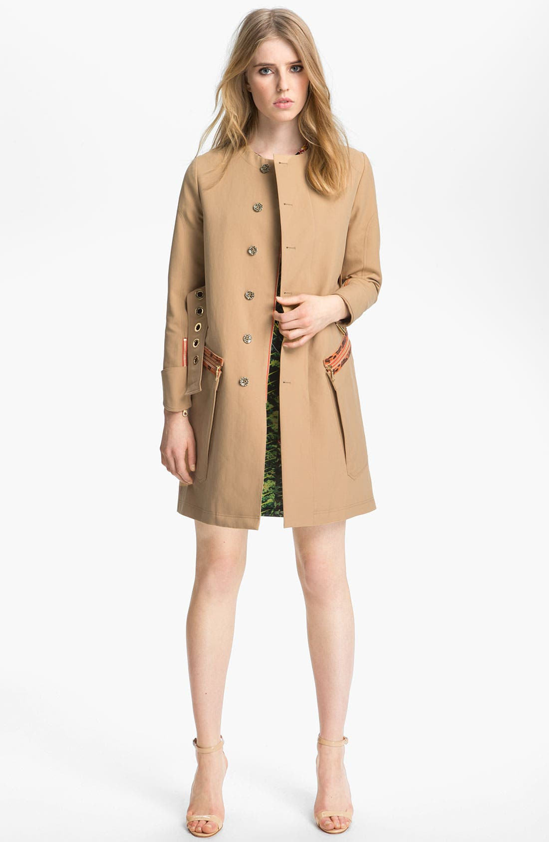 Belted Leather Trim Trench Coat, Main, color, 250