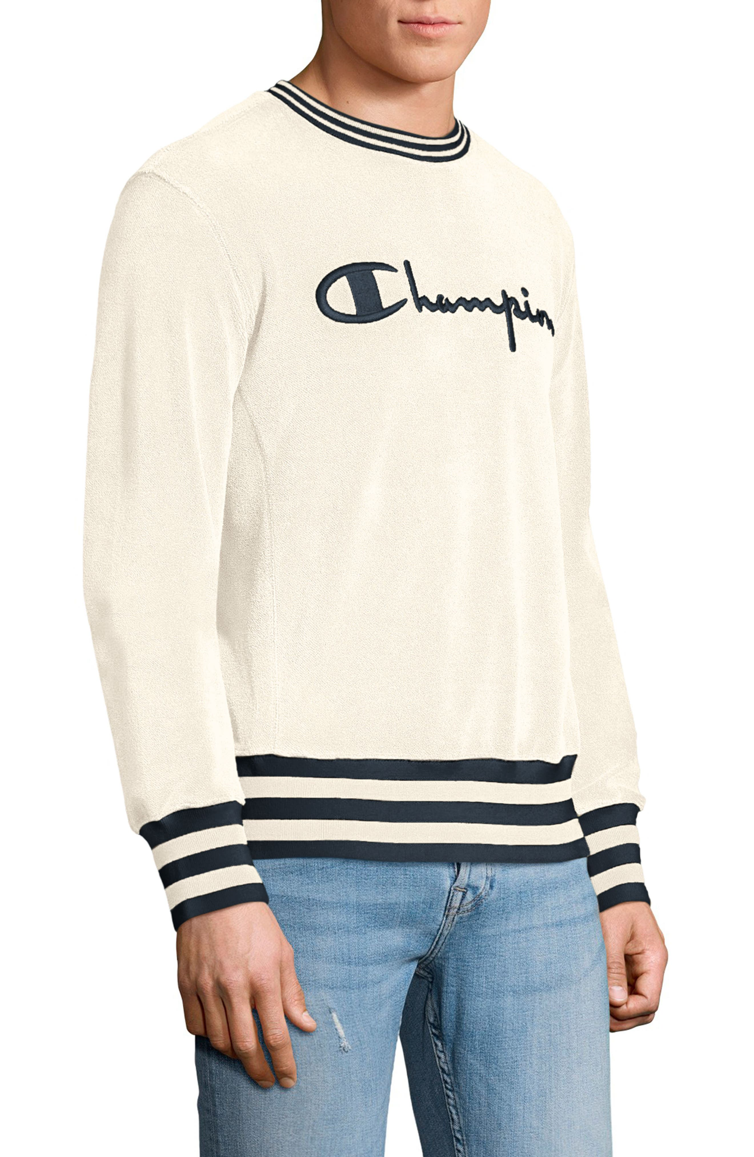 Sponge Terry Crewneck Sweatshirt,                             Alternate thumbnail 3, color,                             100