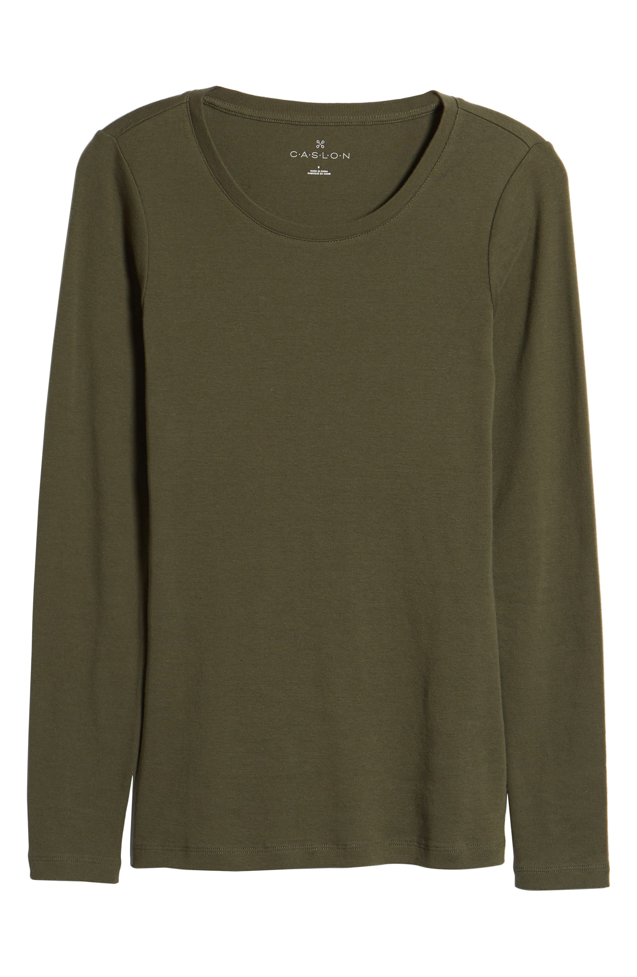 Long Sleeve Scoop Neck Cotton Tee,                             Alternate thumbnail 7, color,                             300