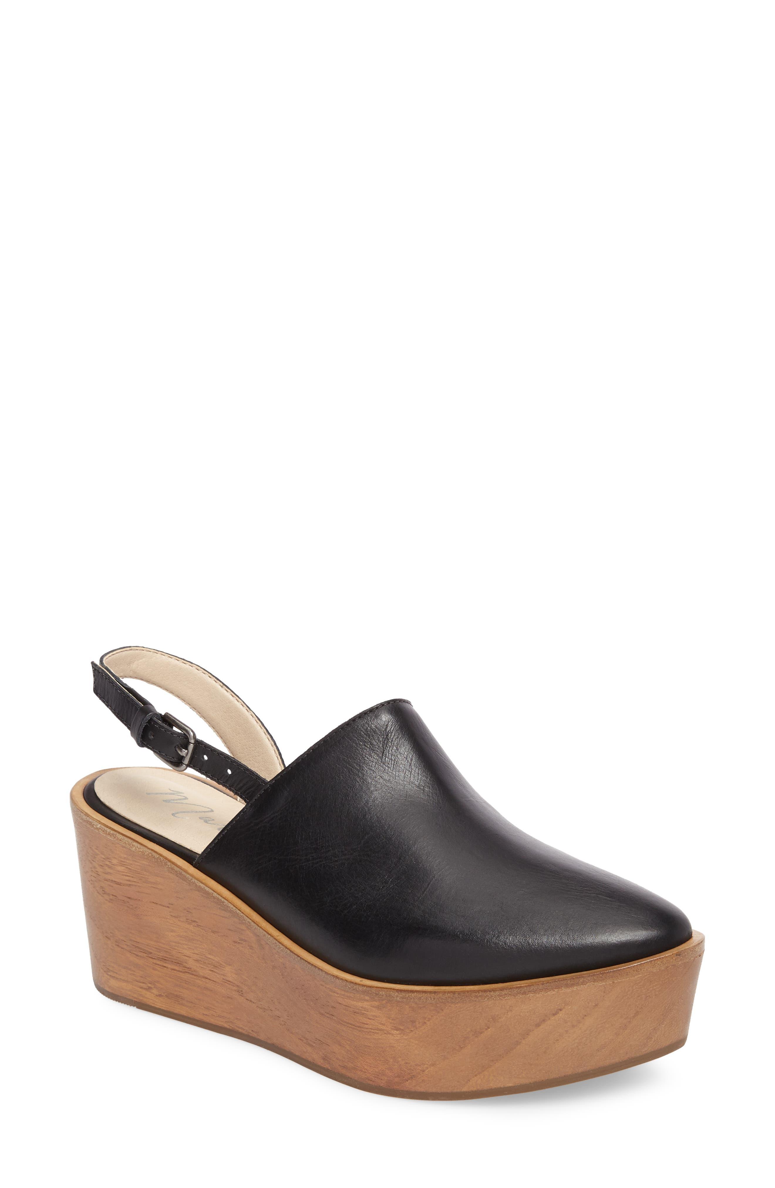 Eyals Slingback Platform Wedge Sandal,                             Main thumbnail 1, color,                             BLACK LEATHER