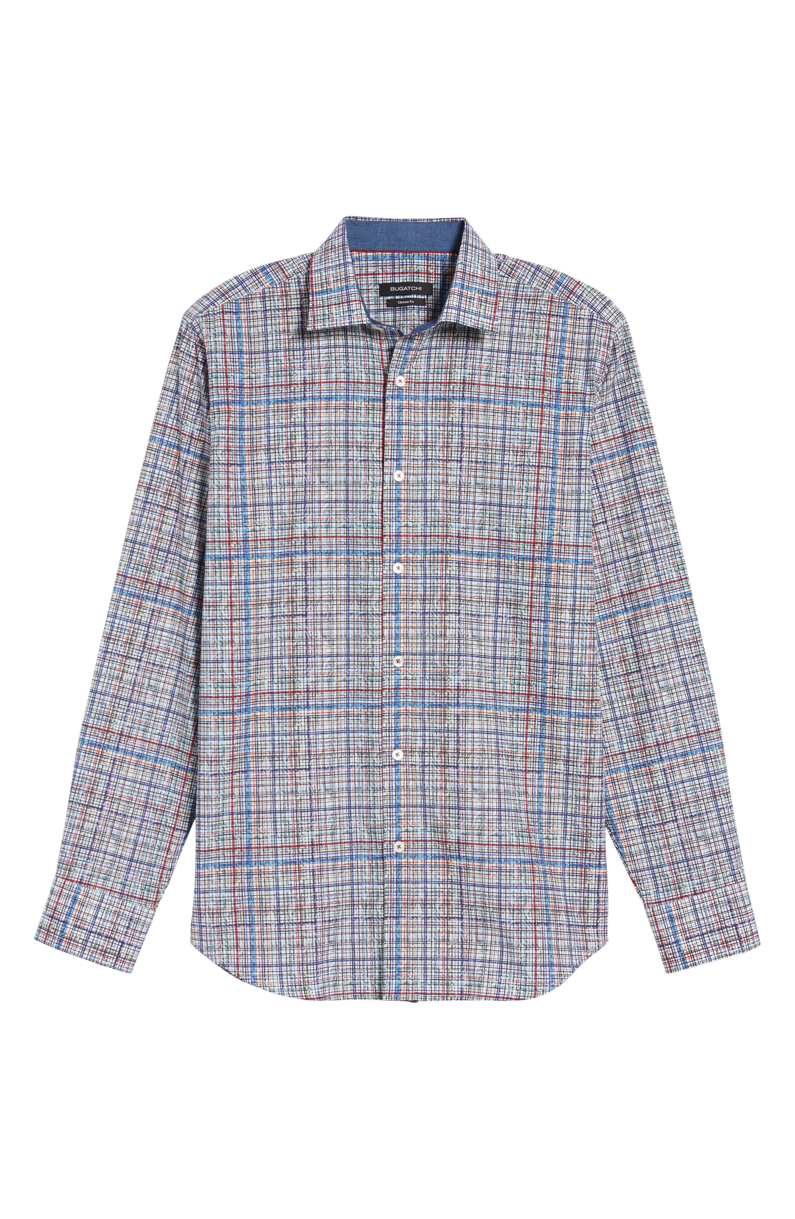 Classic Fit Abstract Plaid Sport Shirt,                             Alternate thumbnail 6, color,