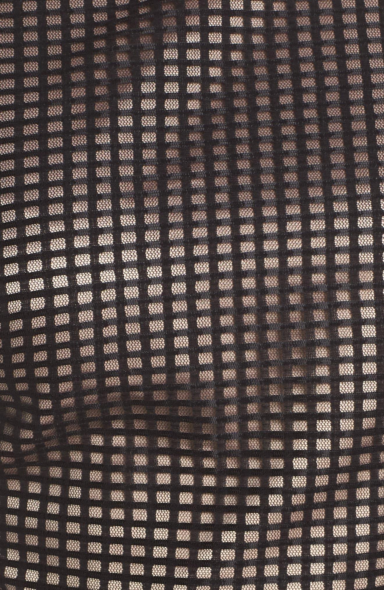 1901,                             Ruffle Grid Overlay Midi Dress,                             Alternate thumbnail 6, color,                             001