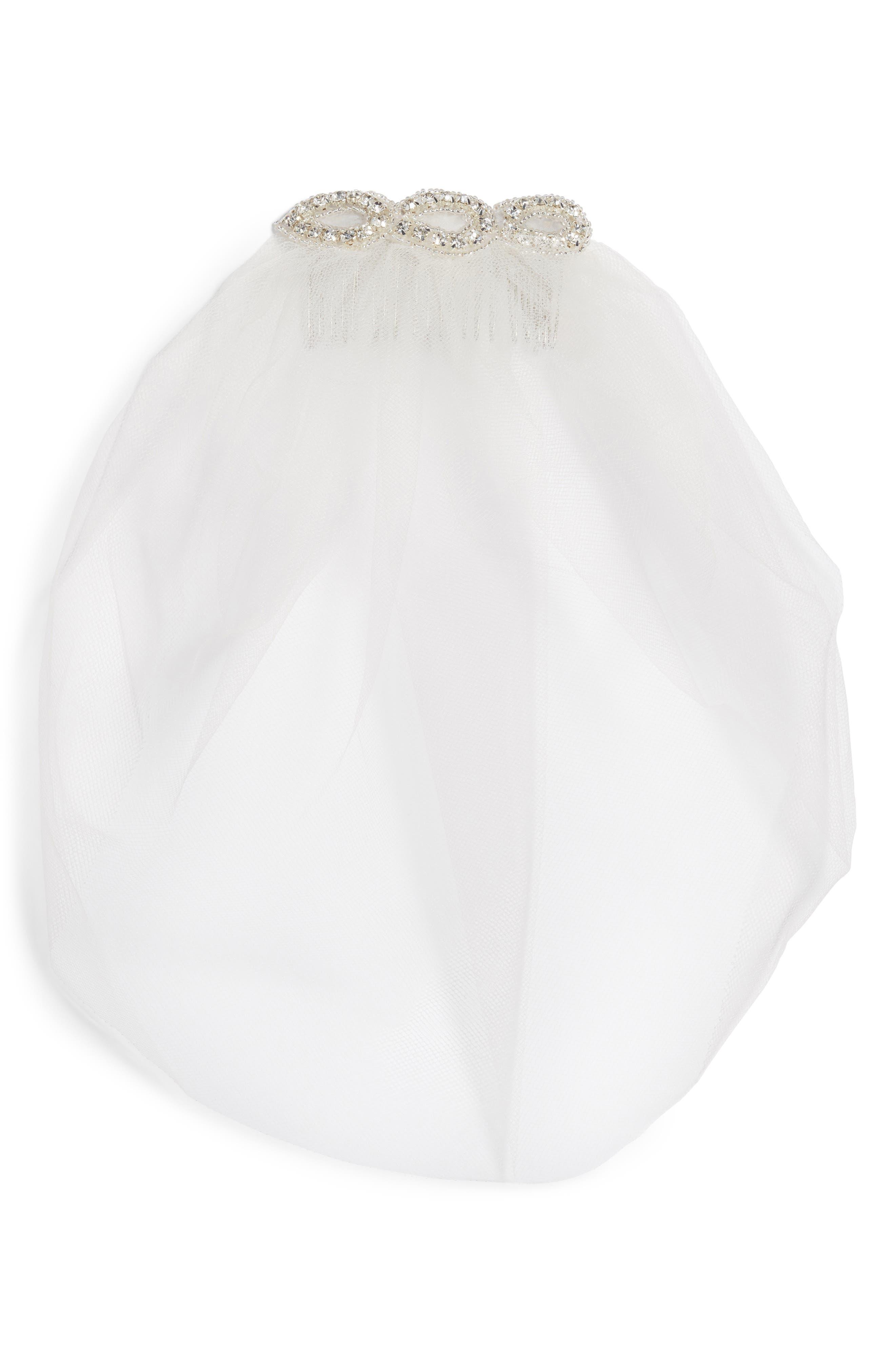 Bridal Veil Hair Comb,                         Main,                         color, 900