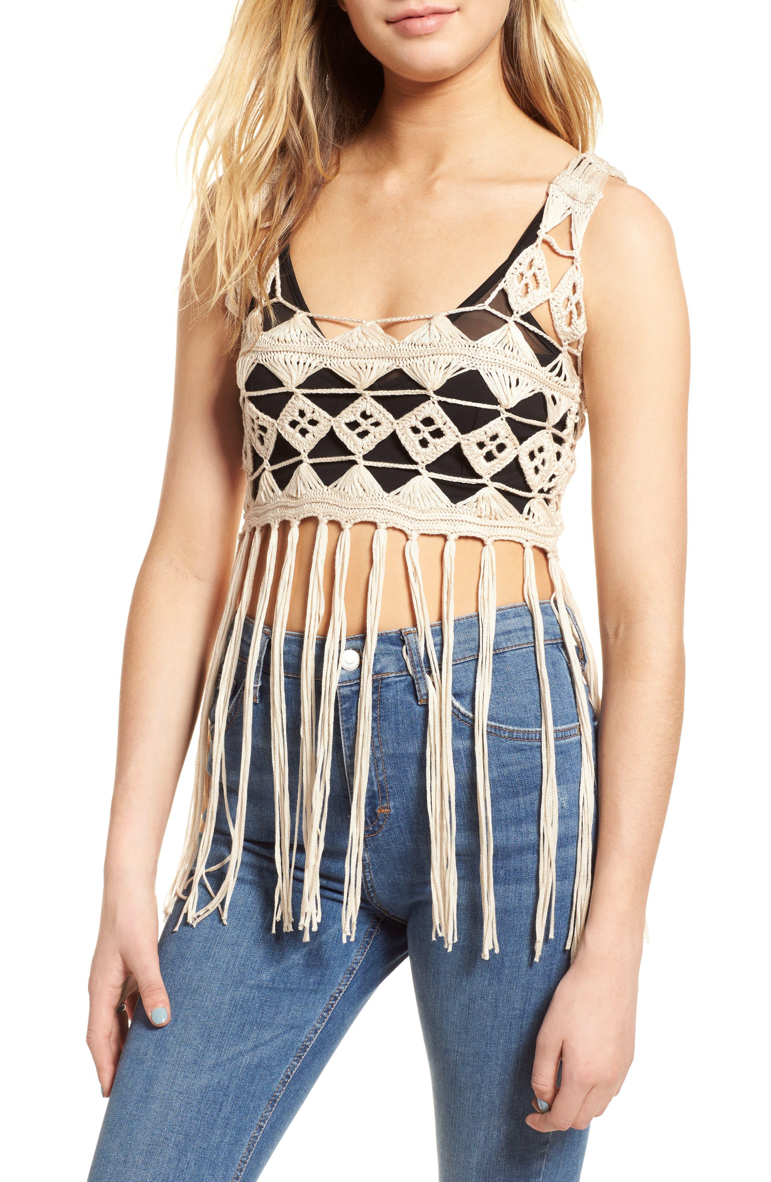 Tassel Hem Crochet Top,                         Main,                         color, 250