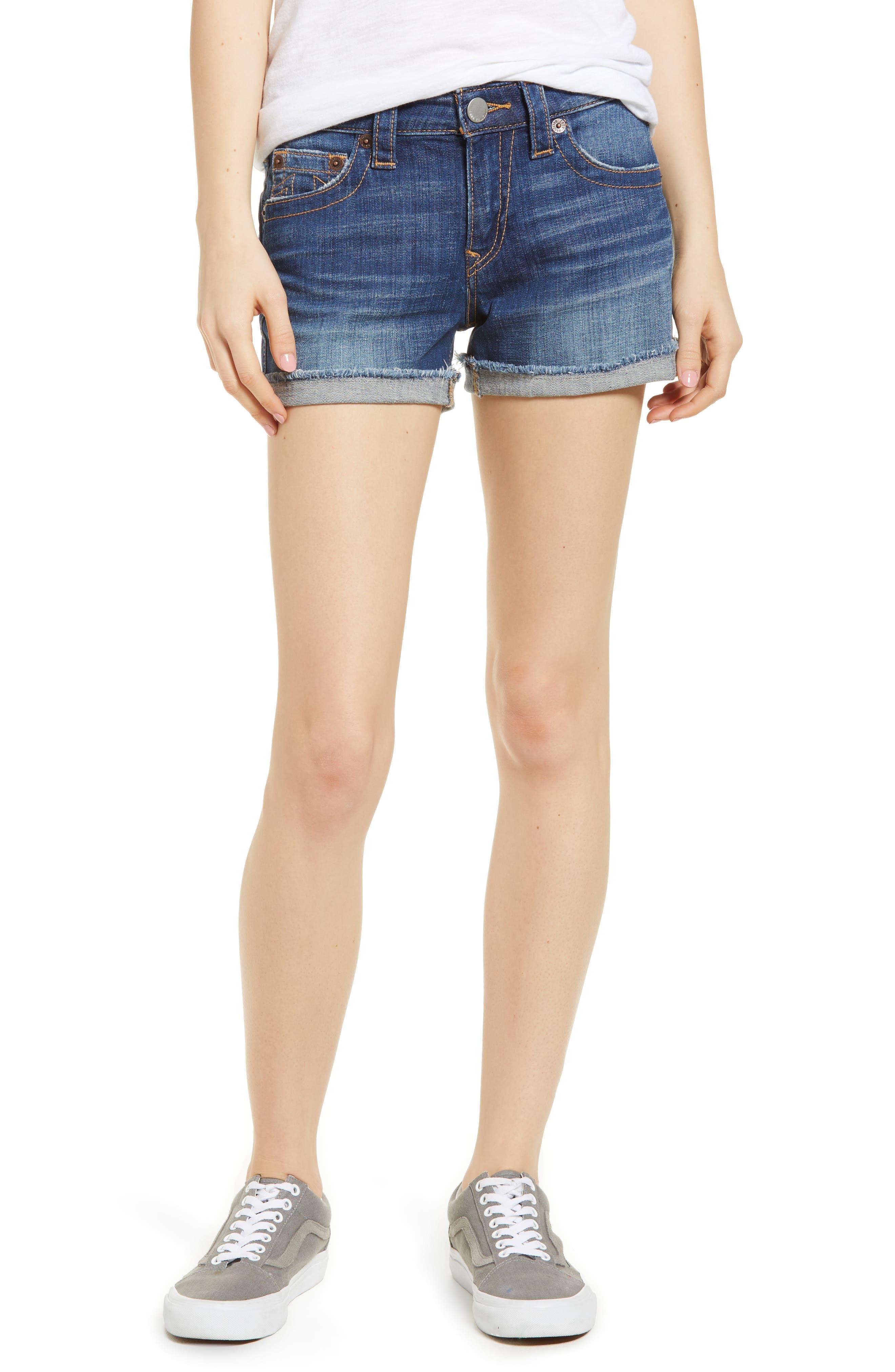 Jennie Curvy Denim Shorts,                         Main,                         color, 402