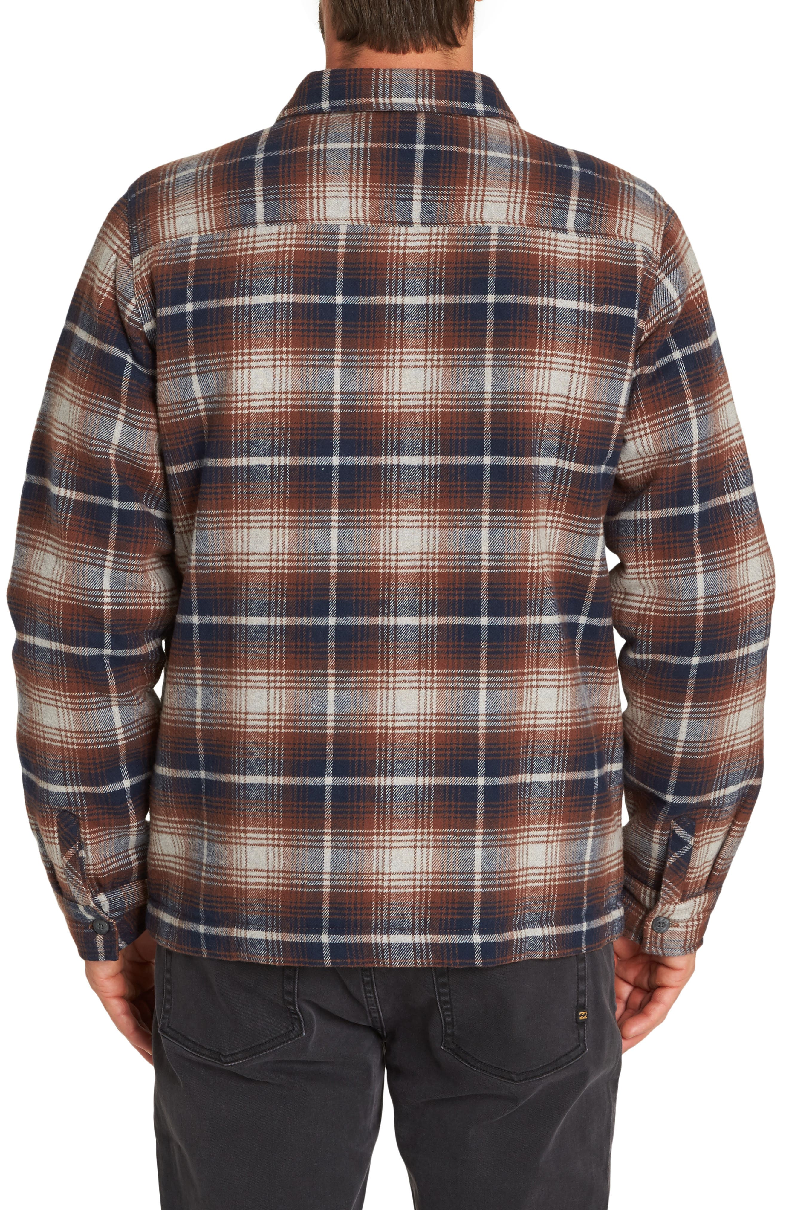 Barlow Plaid Flannel Jacket,                             Alternate thumbnail 2, color,                             PEWTER