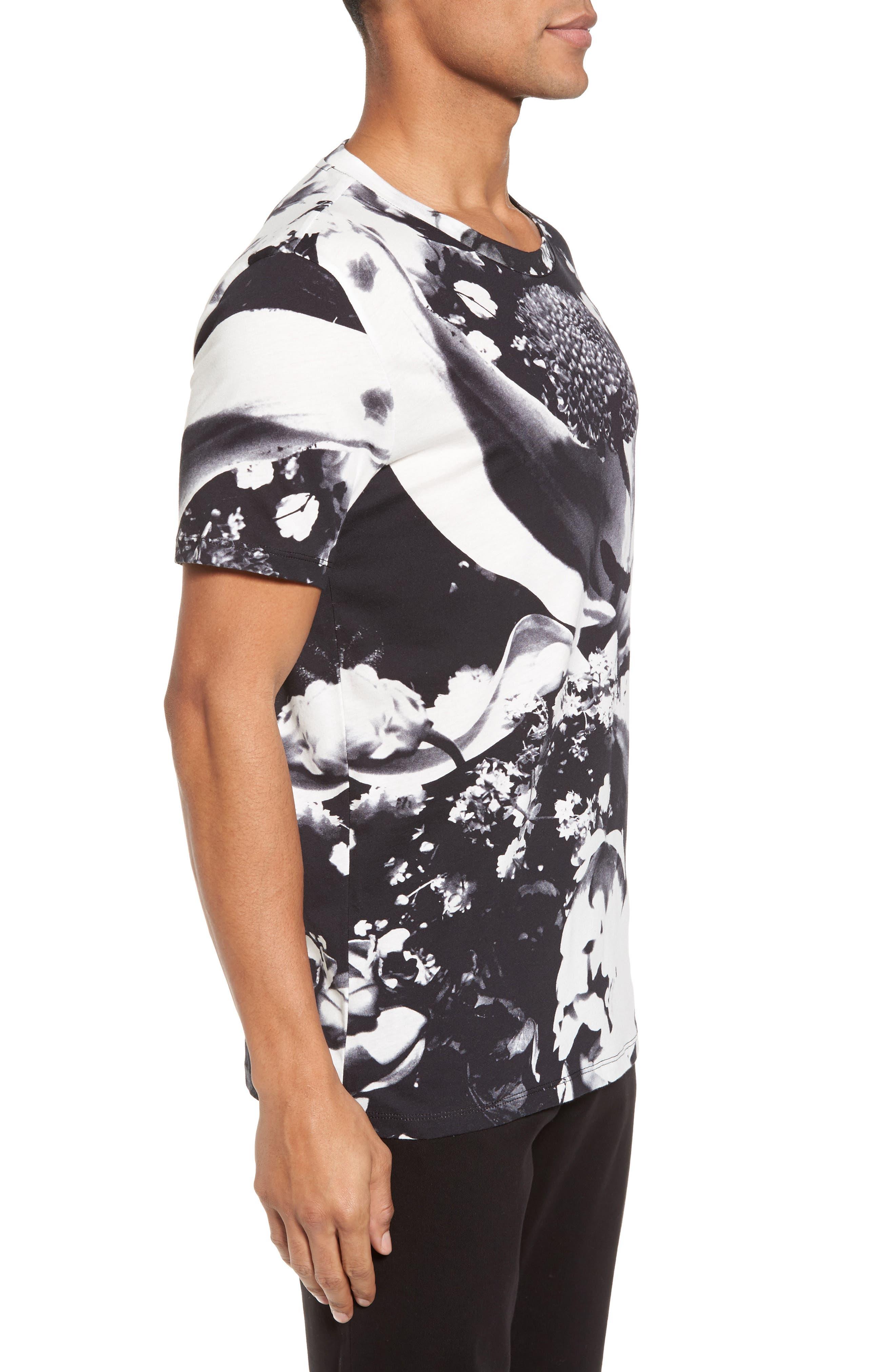 HUGO Diced Allover Print T-Shirt,                             Alternate thumbnail 3, color,                             100