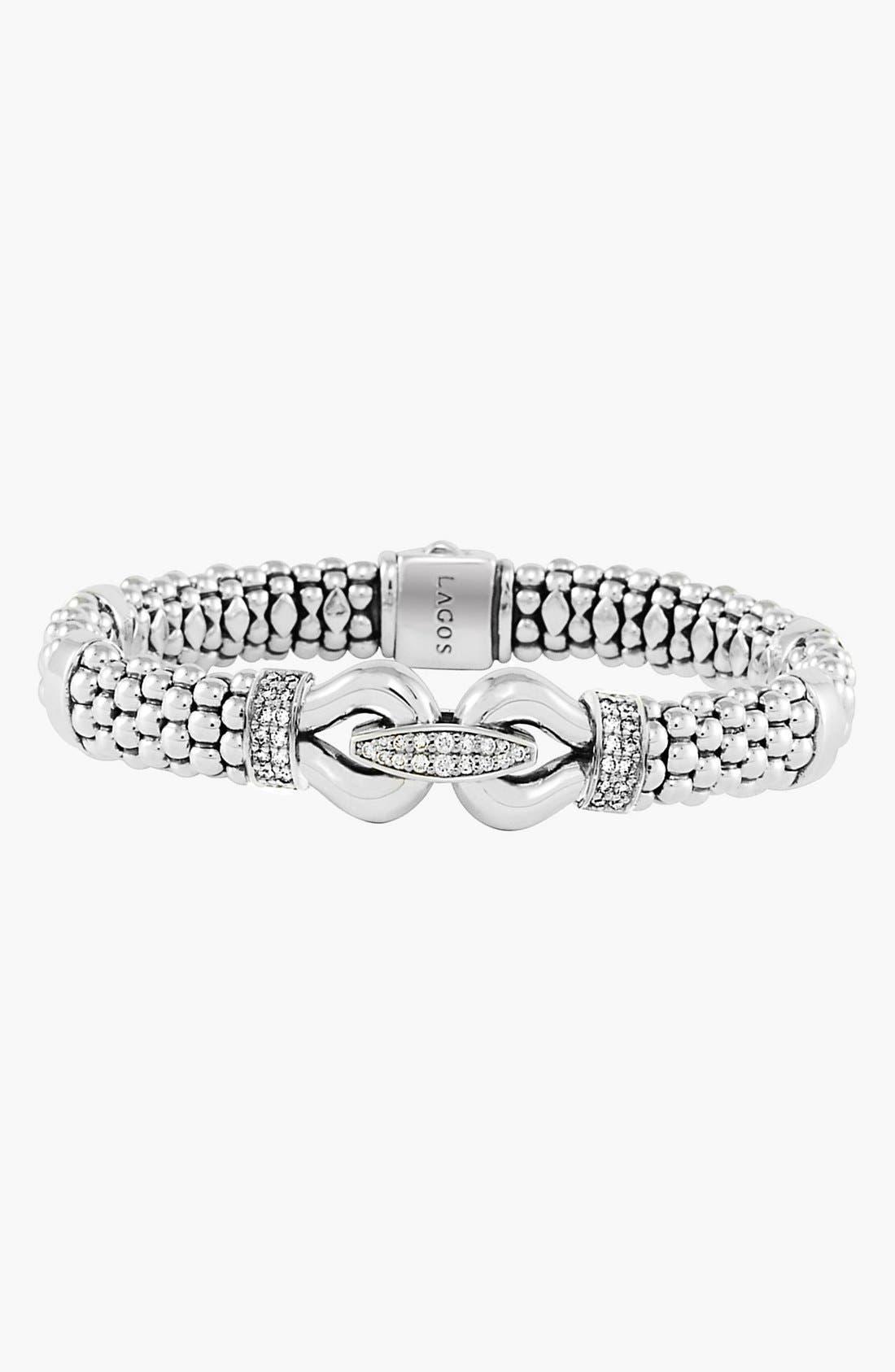 'Derby' Caviar<sup>™</sup> Diamond Rope Bracelet,                             Alternate thumbnail 5, color,                             SILVER