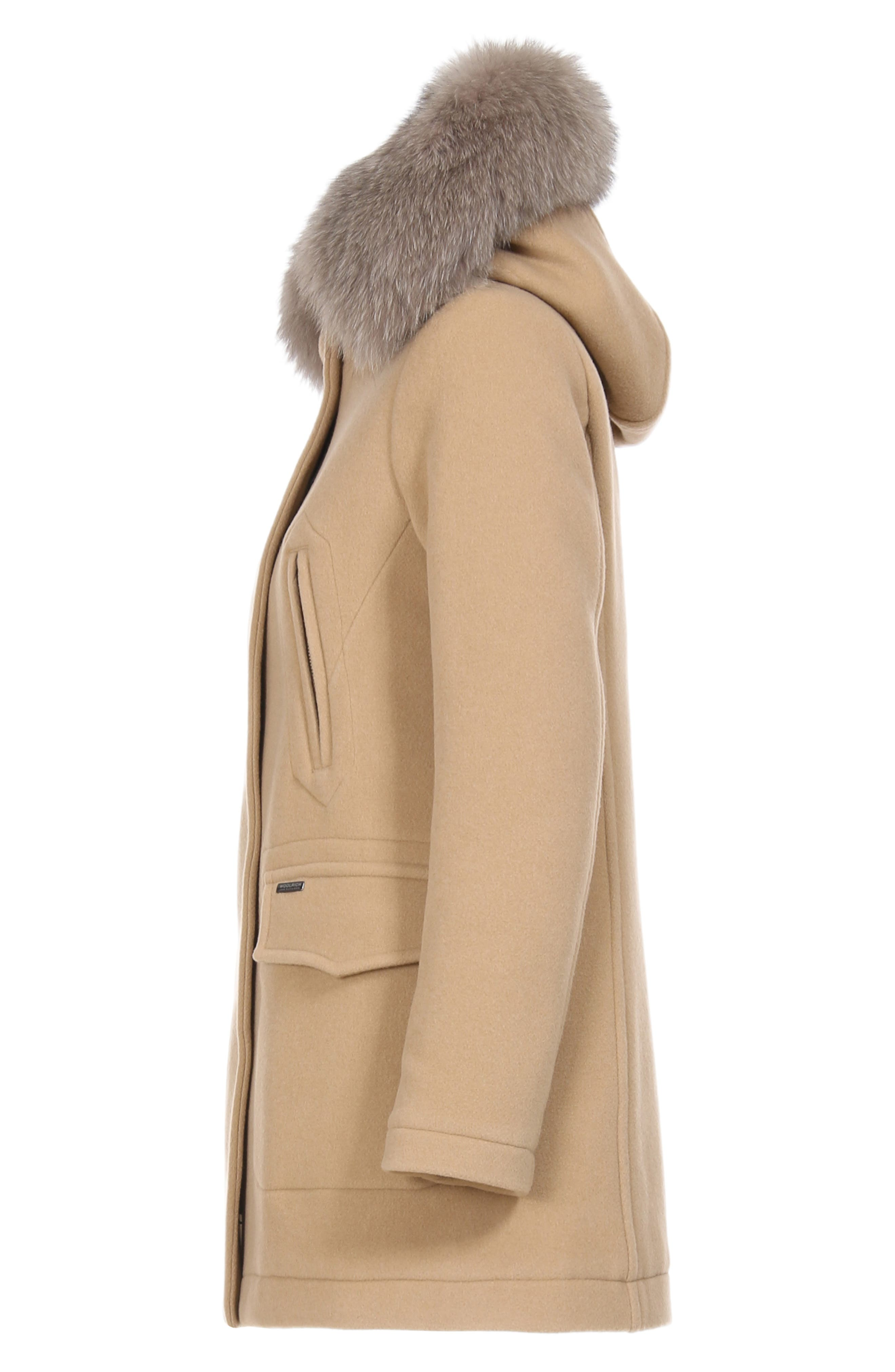McKenzie Coat with Genuine Fox Fur Trim,                             Alternate thumbnail 6, color,                             CAMEL