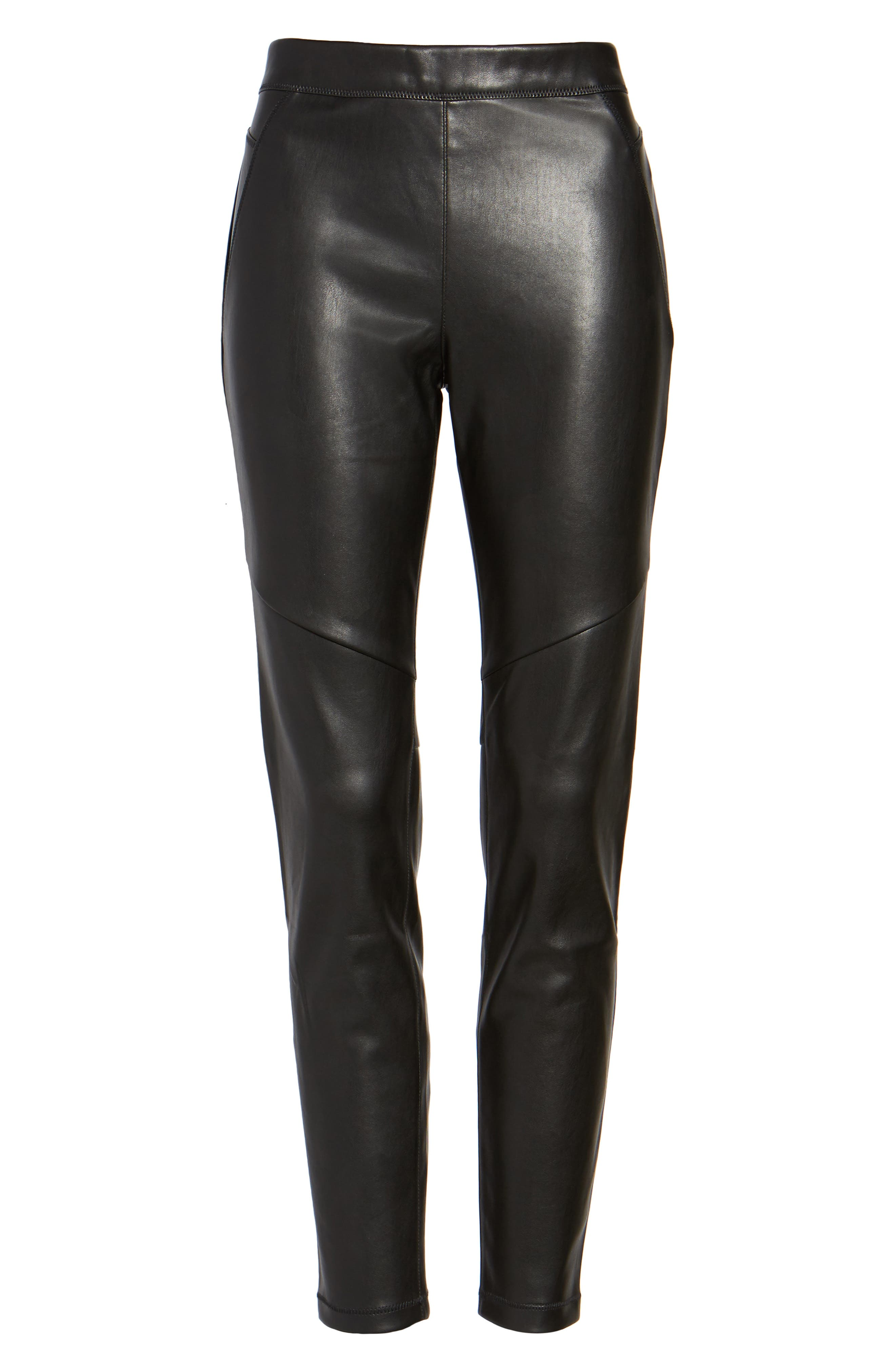 Faux Leather Leggings,                             Alternate thumbnail 4, color,