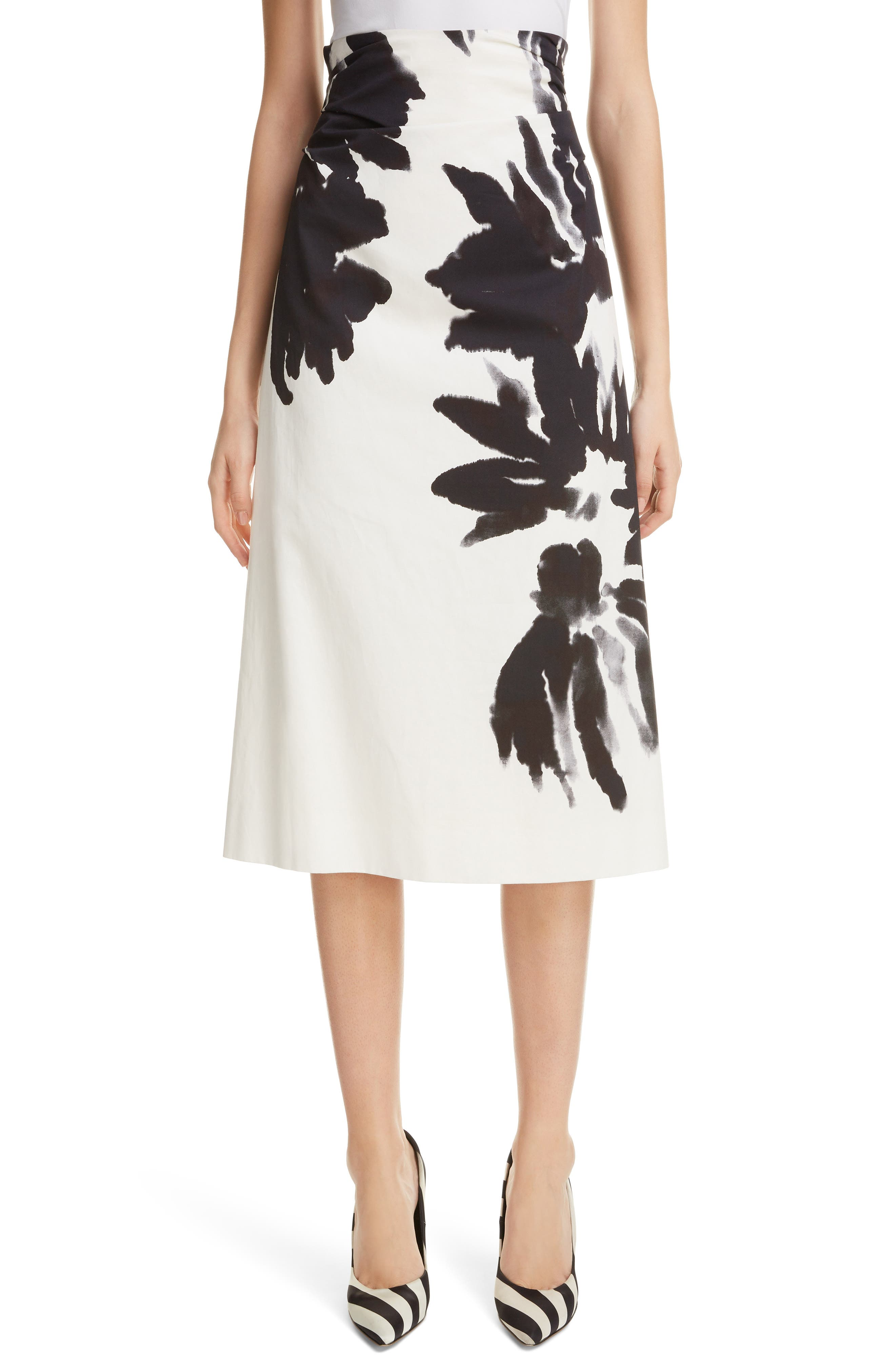 Brush Print Cotton Skirt,                             Main thumbnail 1, color,                             900-BLACK
